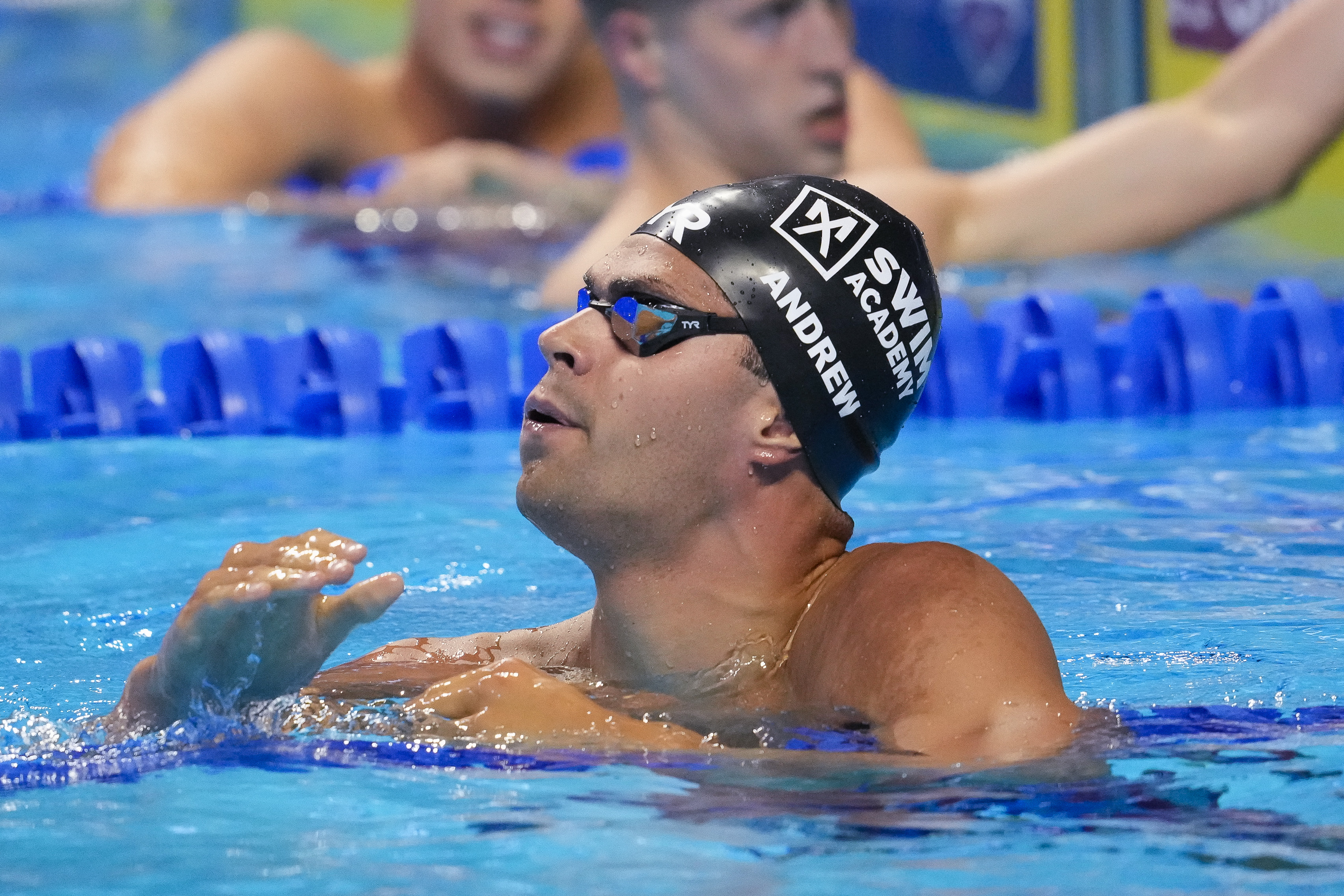 Jun 17, 2021; Omaha, Nebraska, USA; Michael Andrew reacts in the Men's 200m Individual Medley Semifinals 2 during the U.S. Olympic Team Trials Swimming competition at CHI Health Center Omaha. Mandatory Credit: Rob Schumacher-USA TODAY Sports