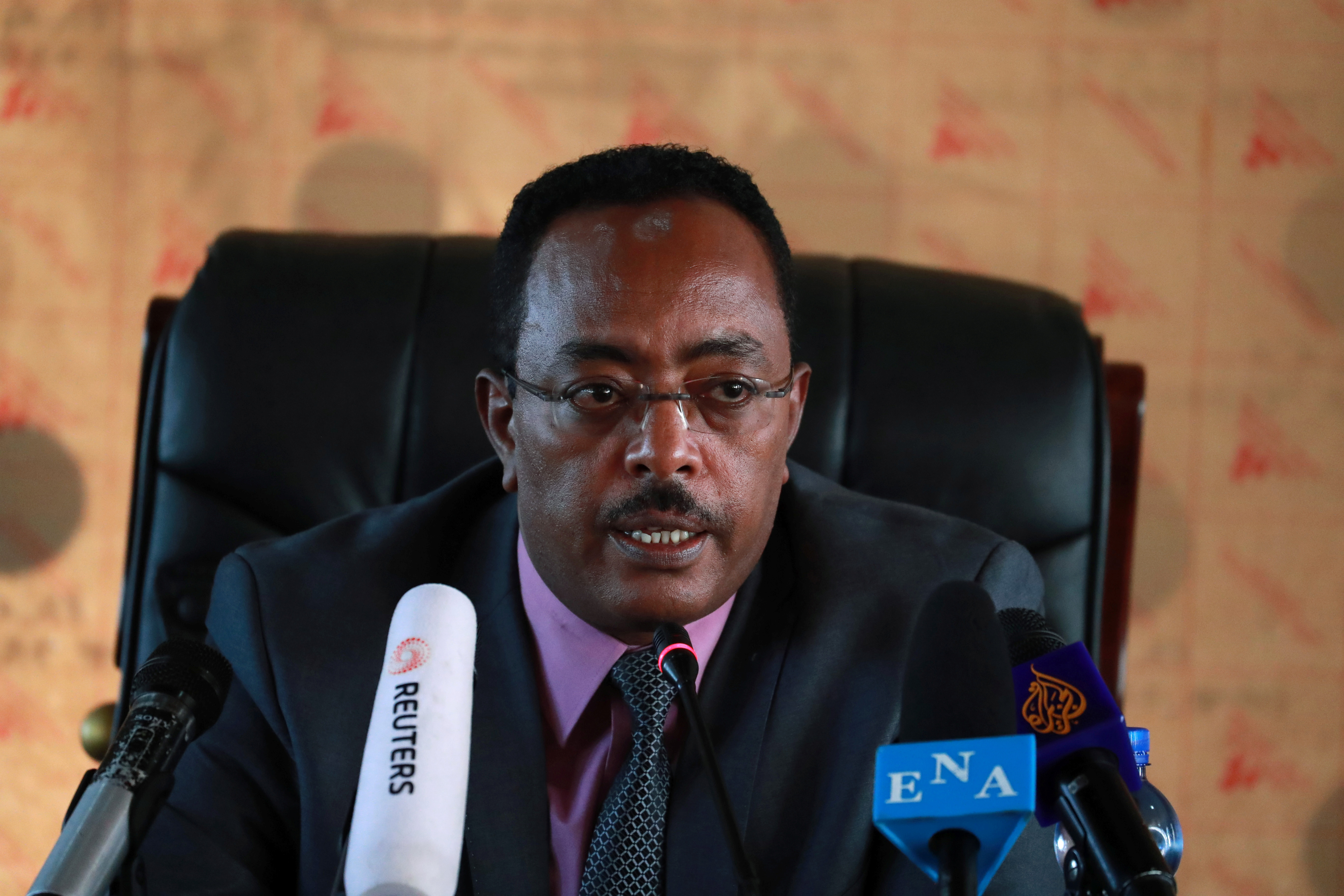 Ethiopia's Redwan Hussein, spokesperson for the newly established State of Emergency task force and State Minister for the Foreign Affairs, speaks during a news conference regarding the fighting between Ethiopian National Defence Force (ENDF) and the Tigray Regional Special Forces, at the Ministry of Foreign Affairs, in Addis Ababa, Ethiopia November 23, 2020. REUTERS/Tiksa Negeri