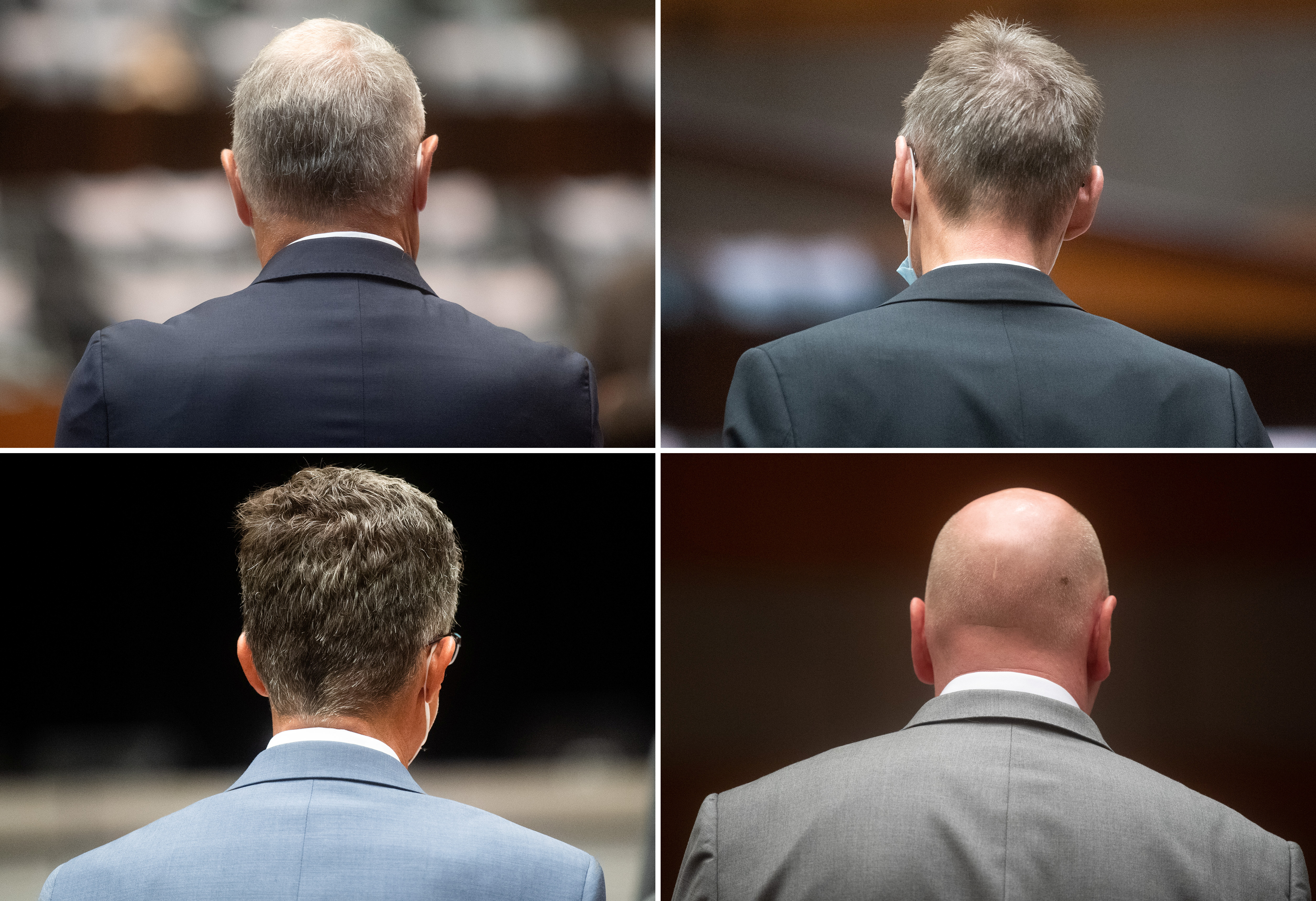 A combination picture shows the four defendants at the start of the trial of former Volkswagen executives charged with misconduct over their role in the carmaker's manipulation of diesel emissions testing, in Brunswick, Germany September 16, 2021.  Julian Stratenschulte/Pool via REUTERS