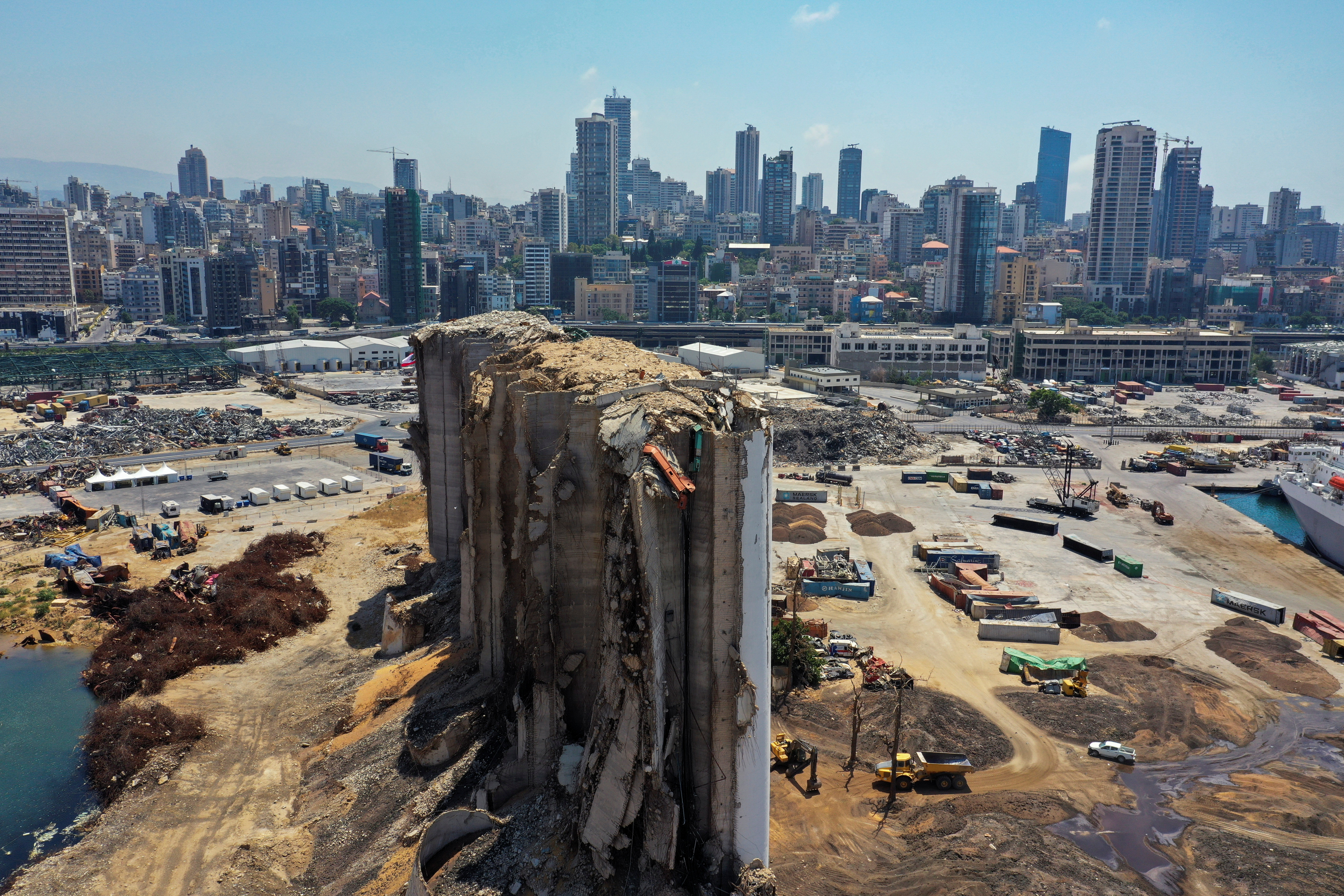 A picture taken with a drone shows a general view of the site of the Aug. 4, 2020 explosion in Beirut's port, after almost a year since the blast, Lebanon August 2, 2021. REUTERS/Imad Creidi