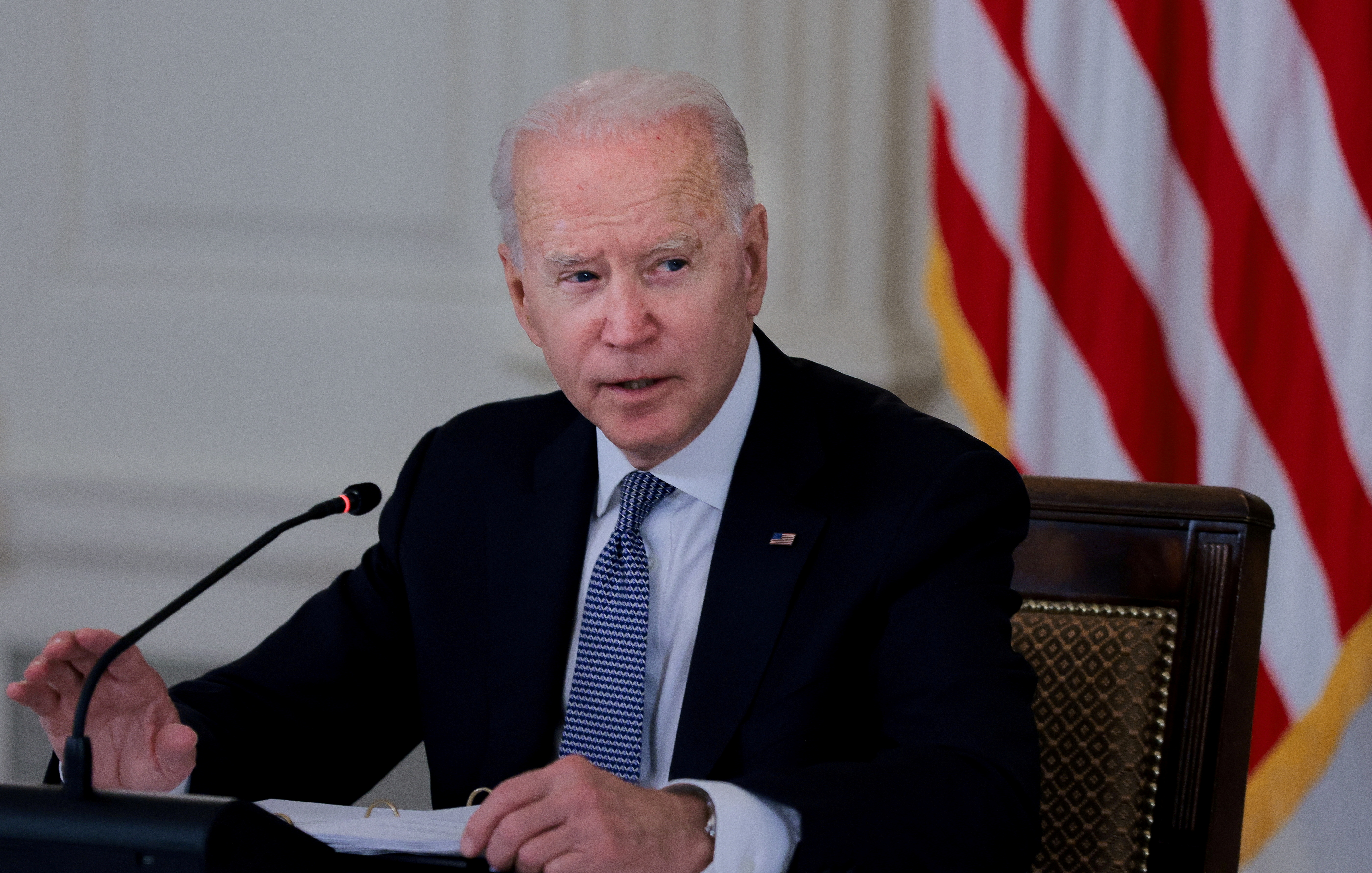 U.S. President Joe Biden in the State Dining Room at the White House in Washington, U.S., July 30, 2021. REUTERS/Evelyn Hockstein