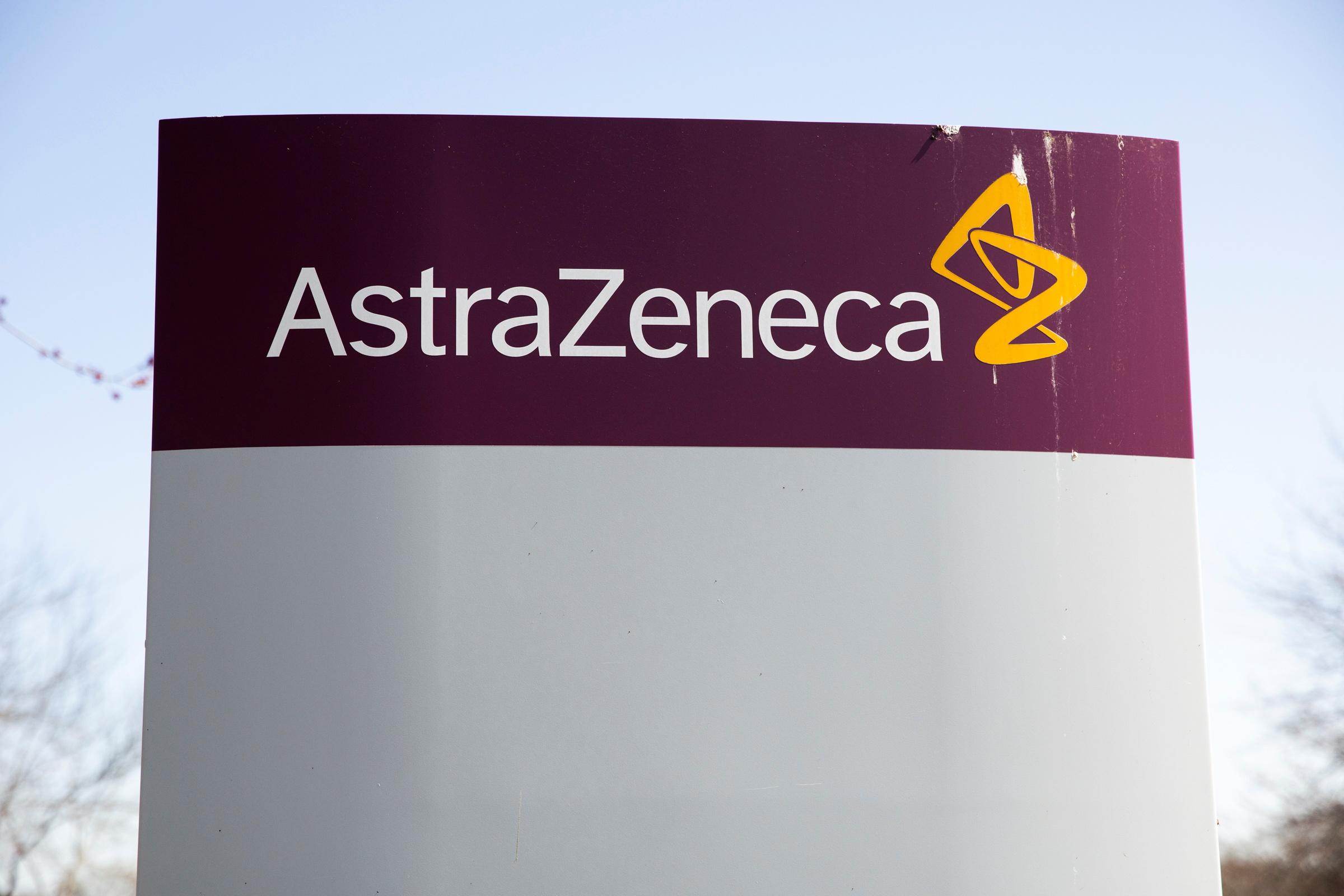 The logo for AstraZeneca is seen outside its North America headquarters in Wilmington, Delaware, U.S., March 22, 2021.  REUTERS/Rachel Wisniewski