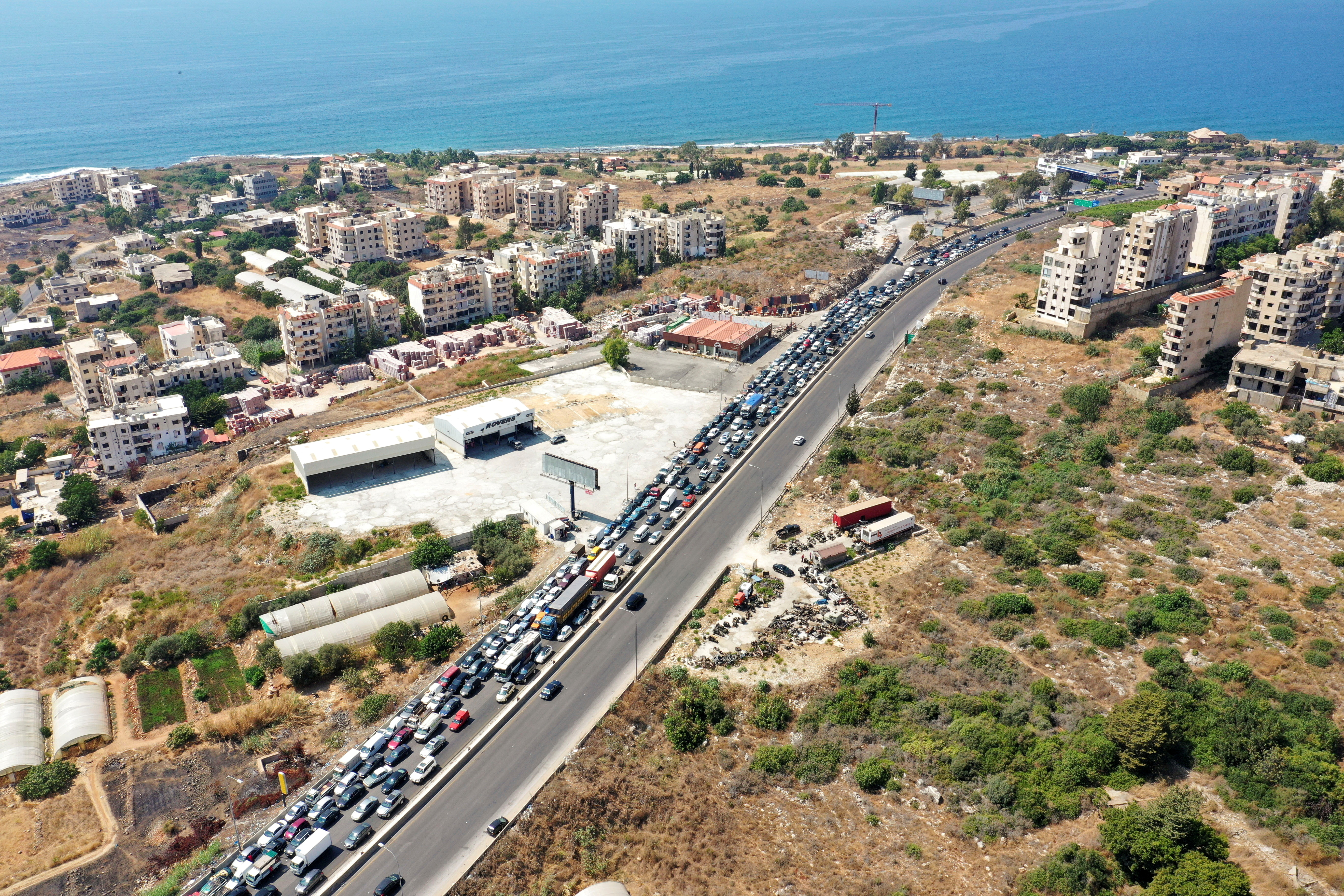 Traffic jam caused by cars lining up for fuel in Damour, Lebanon. REUTERS/Issam Abdallah