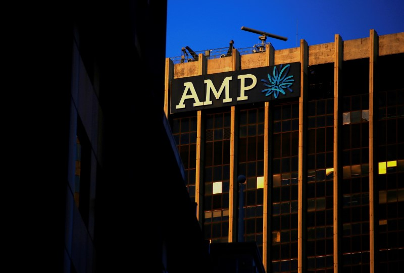 The logo of AMP Ltd, Australia's biggest retail wealth manager, adorns their head office located in central Sydney, Australia, May 5, 2017. REUTERS/David Gray