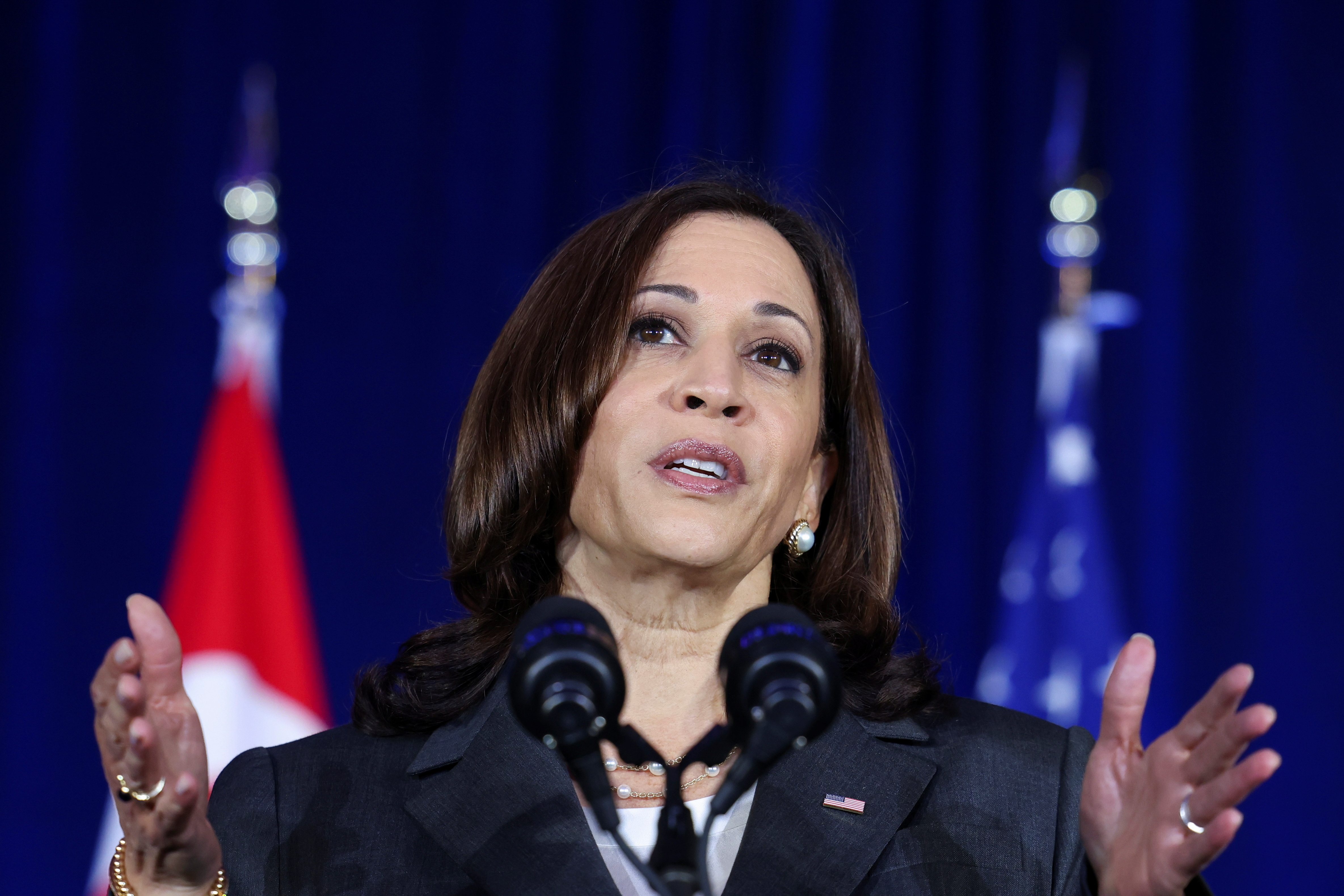 U.S. Vice President Kamala Harris delivers a speech at Gardens by the Bay in Singapore before departing for Vietnam on the second leg of her Asia trip, August, 24, 2021. REUTERS/Evelyn Hockstein/Pool