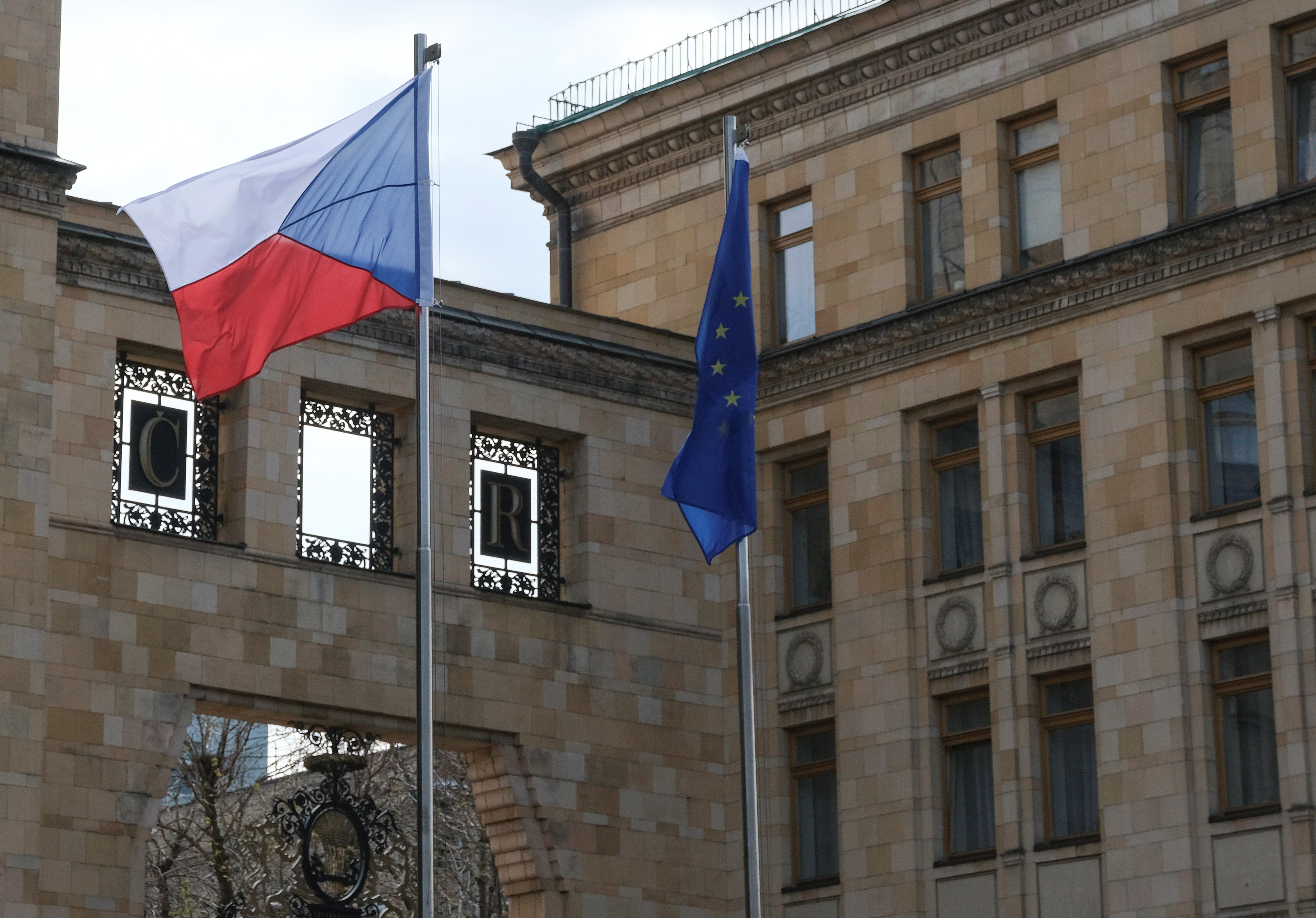 A view shows the embassy of the Czech Republic in Moscow, Russia, April 18, 2021. REUTERS/Shamil Zhumatov