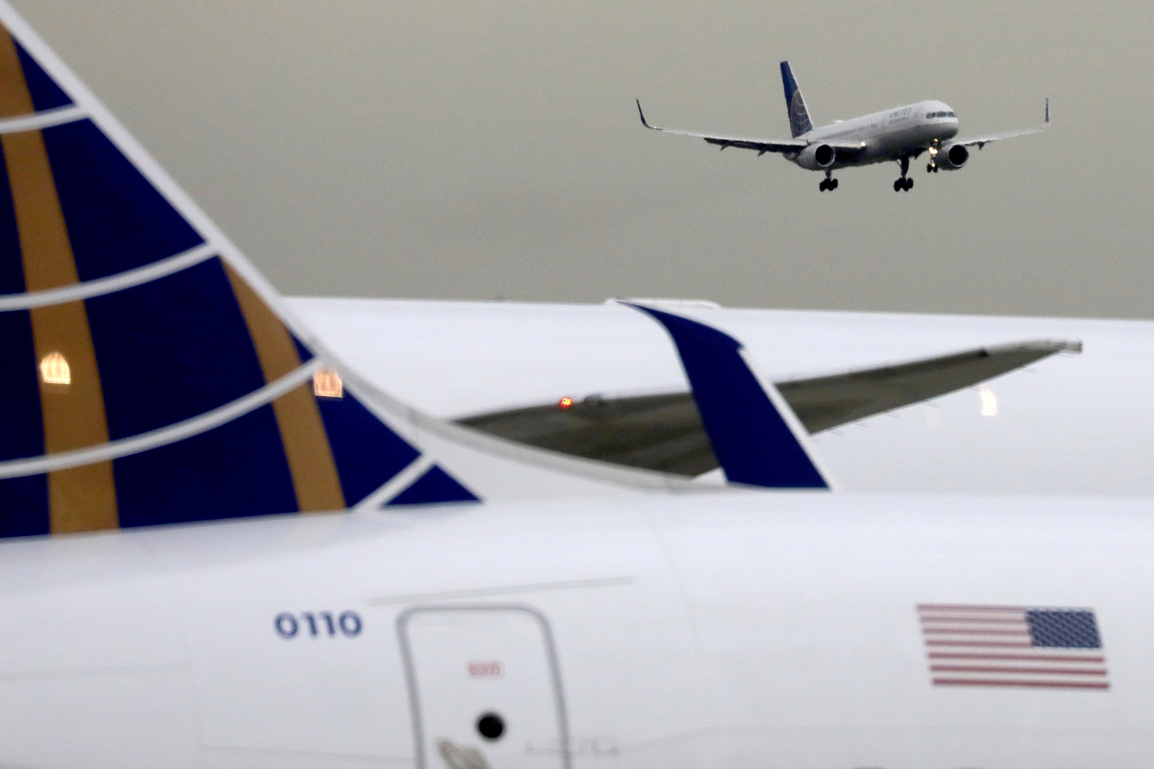 A United Airlines passenger jet lands at Newark Liberty International Airport, New Jersey, U.S. December 6, 2019. REUTERS/Chris Helgren/File Photo