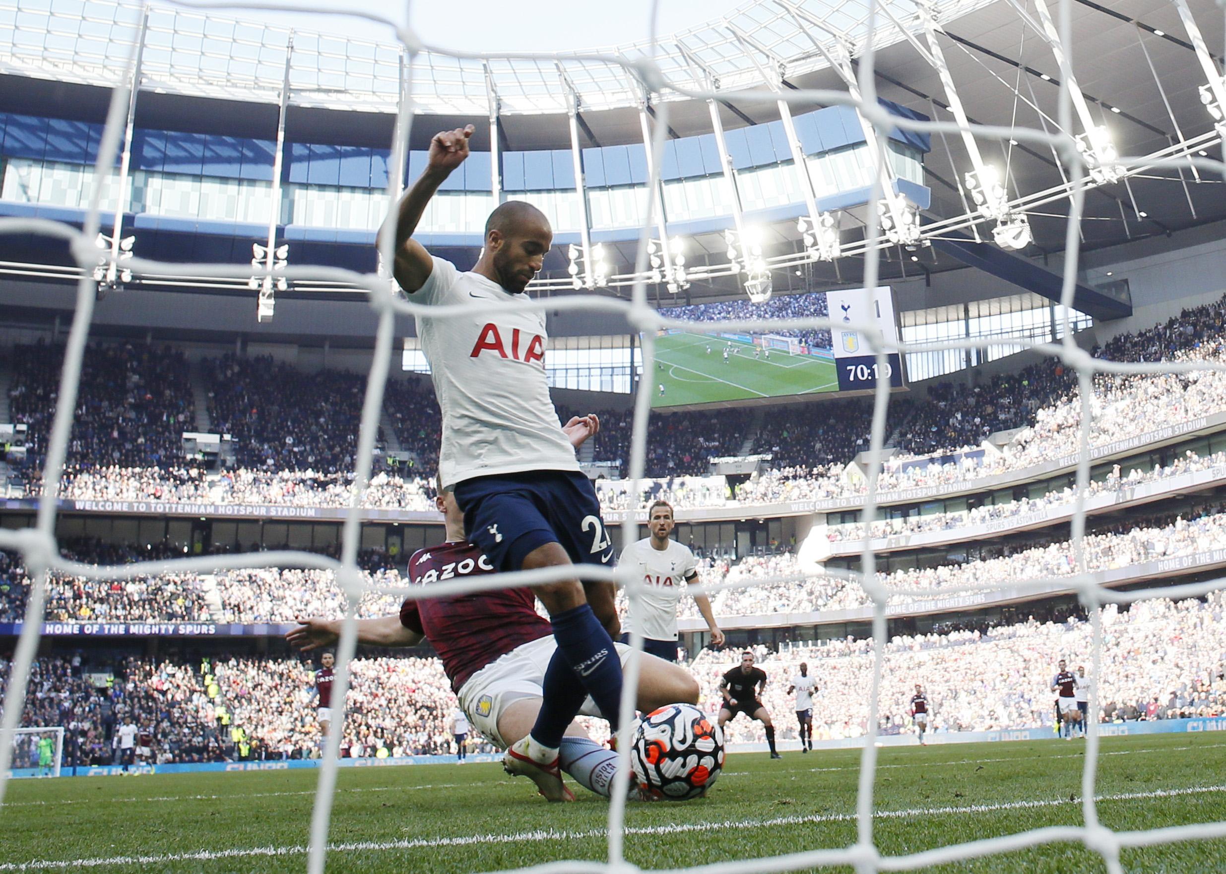 Soccer Football - Premier League - Tottenham Hotspur v Aston Villa - Tottenham Hotspur Stadium, London, Britain - October 3, 2021 Tottenham Hotspur's Lucas Moura scores their second goal REUTERS/David Klein