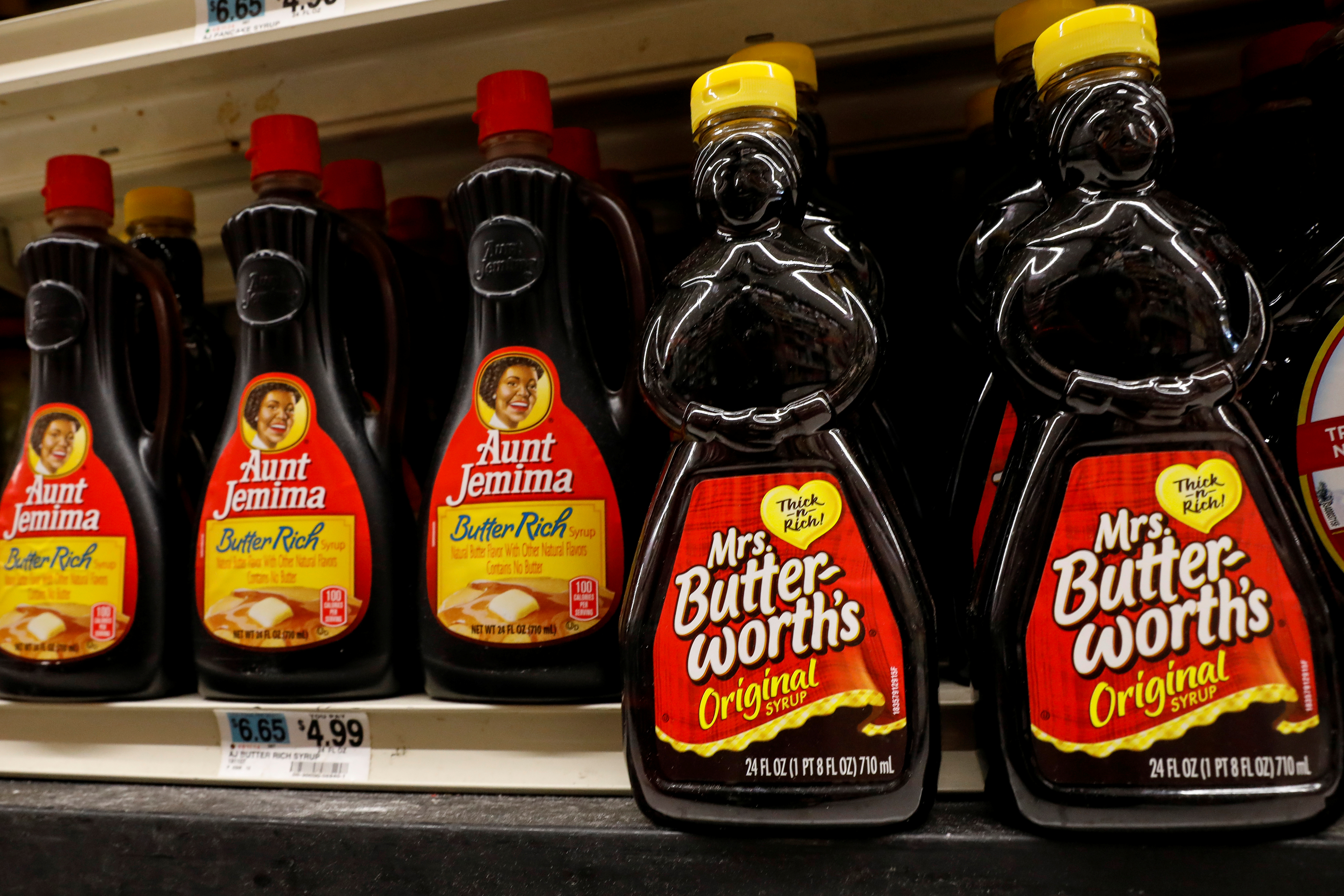 Bottles of ConAgra Brands Inc. Mrs. Butter-Worth's branded syrup are seen along side Aunt Jemima branded syrup on a store shelf in the Brooklyn borough of New York City, New York, U.S., June 17, 2020. REUTERS/Brendan McDermid