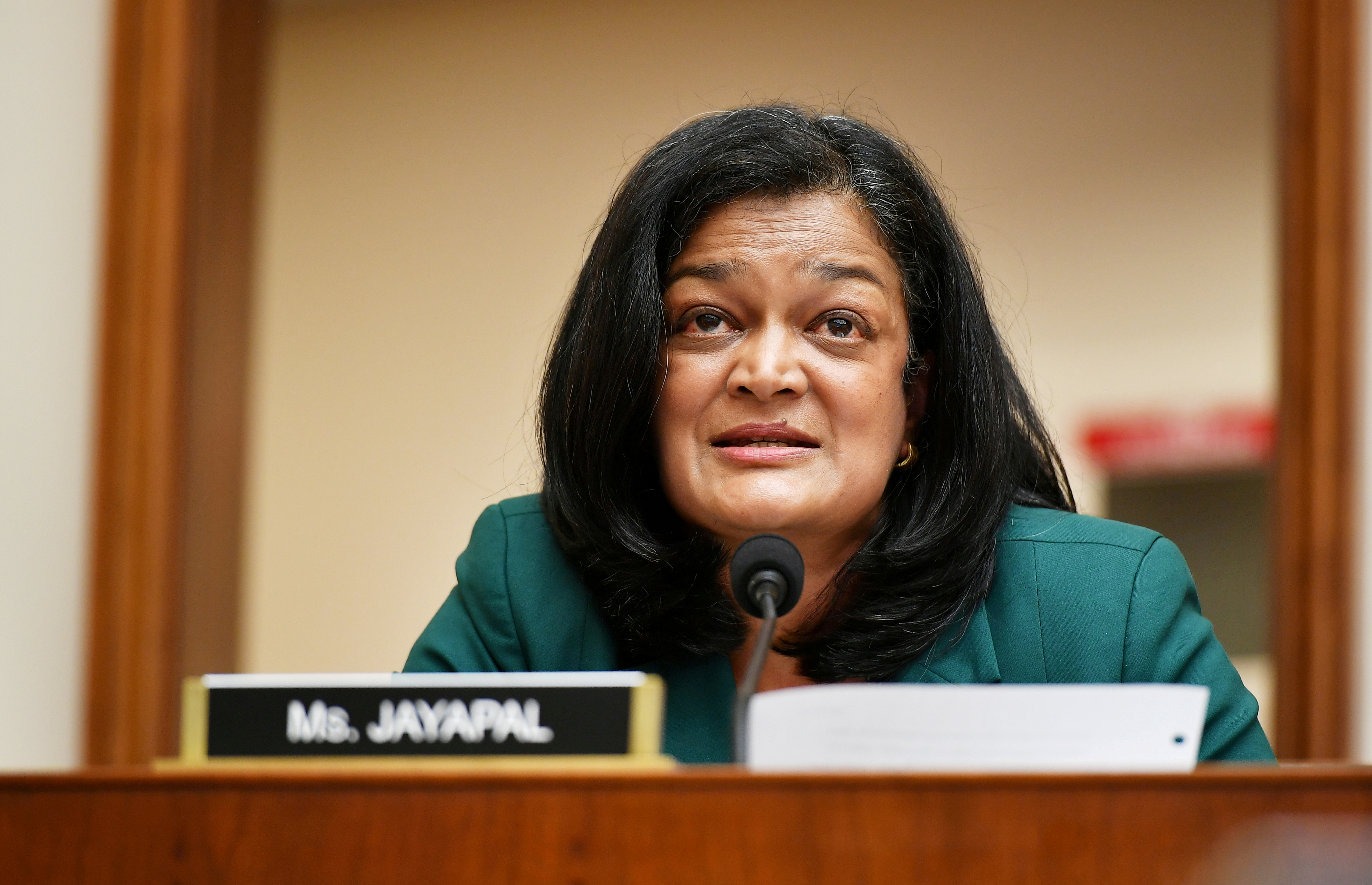 Rep. Pramila Jayapal, (D-WA), speaks during a hearing in Washington, July 29, 2020. Mandel Ngan/Pool via REUTERS