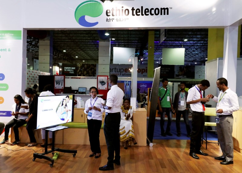 Customers receive assistance from staff members at an Ethio Telecom branch in Addis Ababa, Ethiopia  June 7, 2019. REUTERS/Tiksa Negeri/File Photo