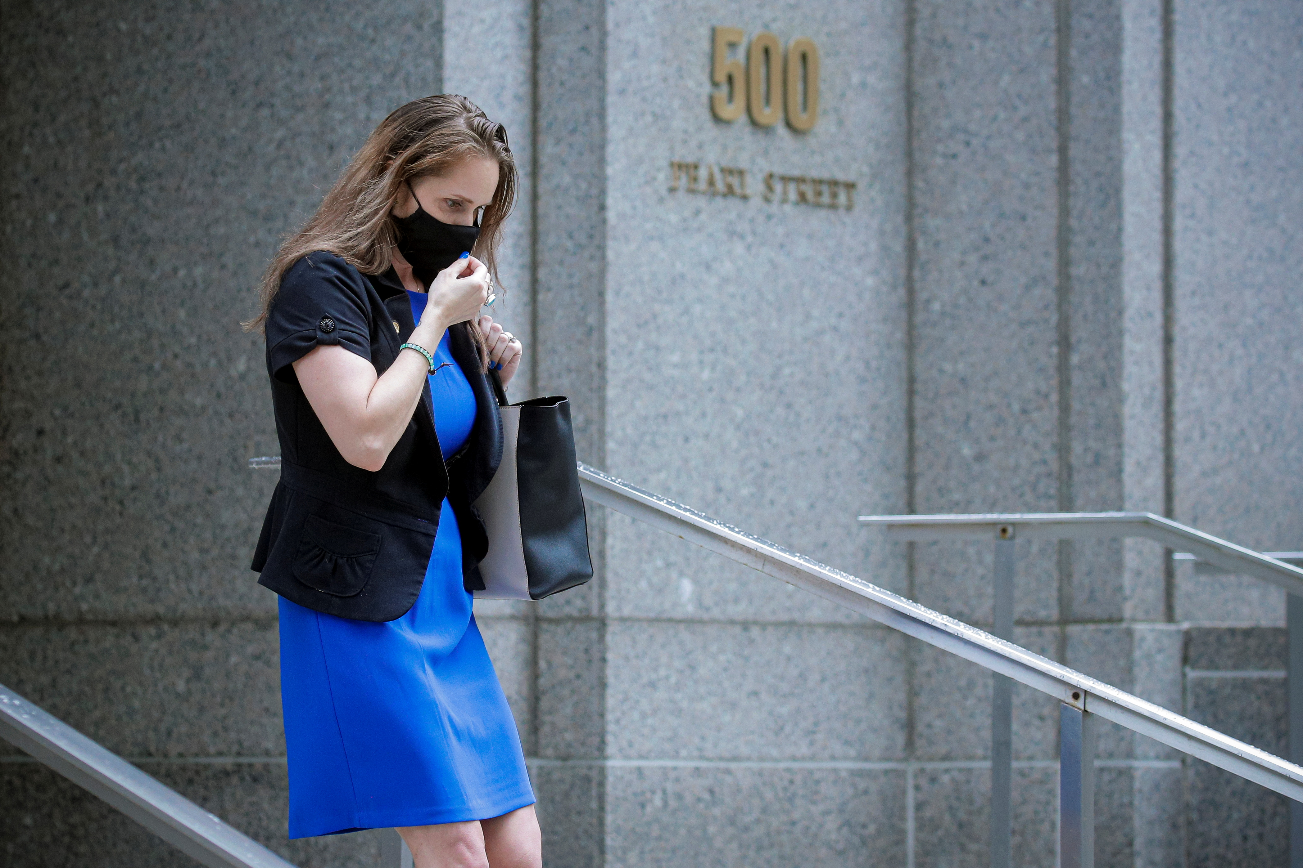 Natalie Mayflower Sours Edwards, a former senior adviser in Treasury's Financial Crimes Enforcement Network (FinCEN), exits the Manhattan Federal Courthouse, following her sentencing hearing in the Manhattan borough of New York, U.S., June 3, 2021.  REUTERS/Brendan McDermid