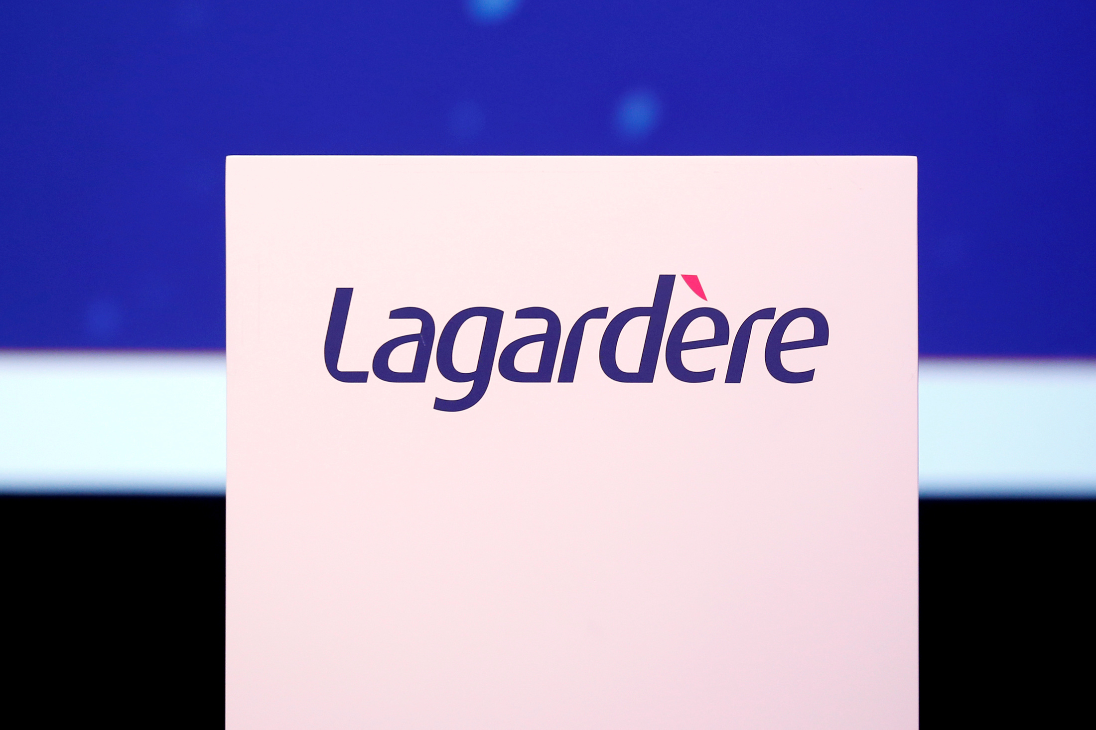 The logo of French media group Lagardere is seen during the groups annual general meeting in Paris, France, May 3, 2016. REUTERS/Benoit Tessier
