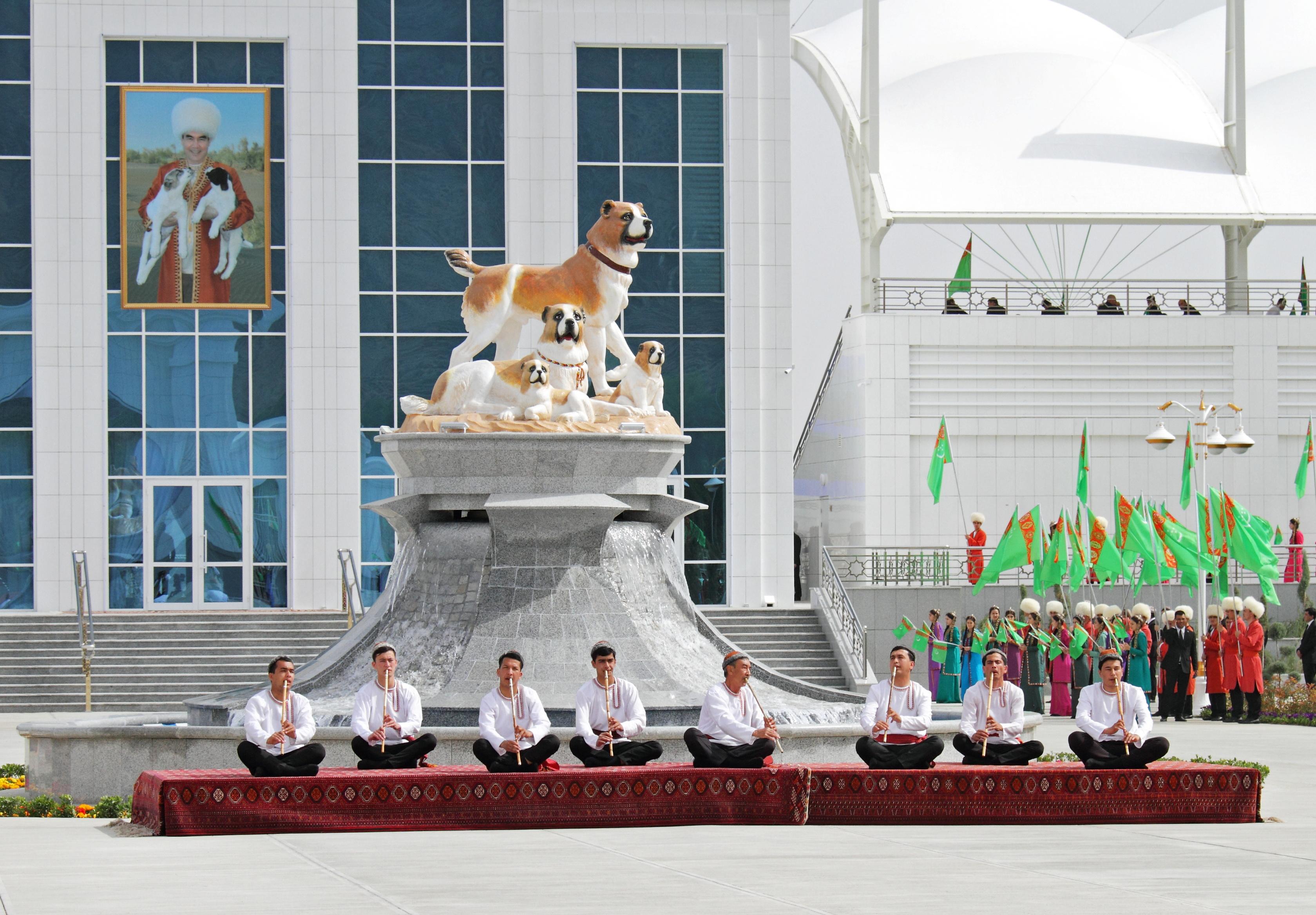 Musicians perform during celebrations for the national Turkmen Horse Day and the Turkmen Shepherd Dog Day near Ashgabat, Turkmenistan April 25, 2021. REUTERS/Vyacheslav Sarkisyan