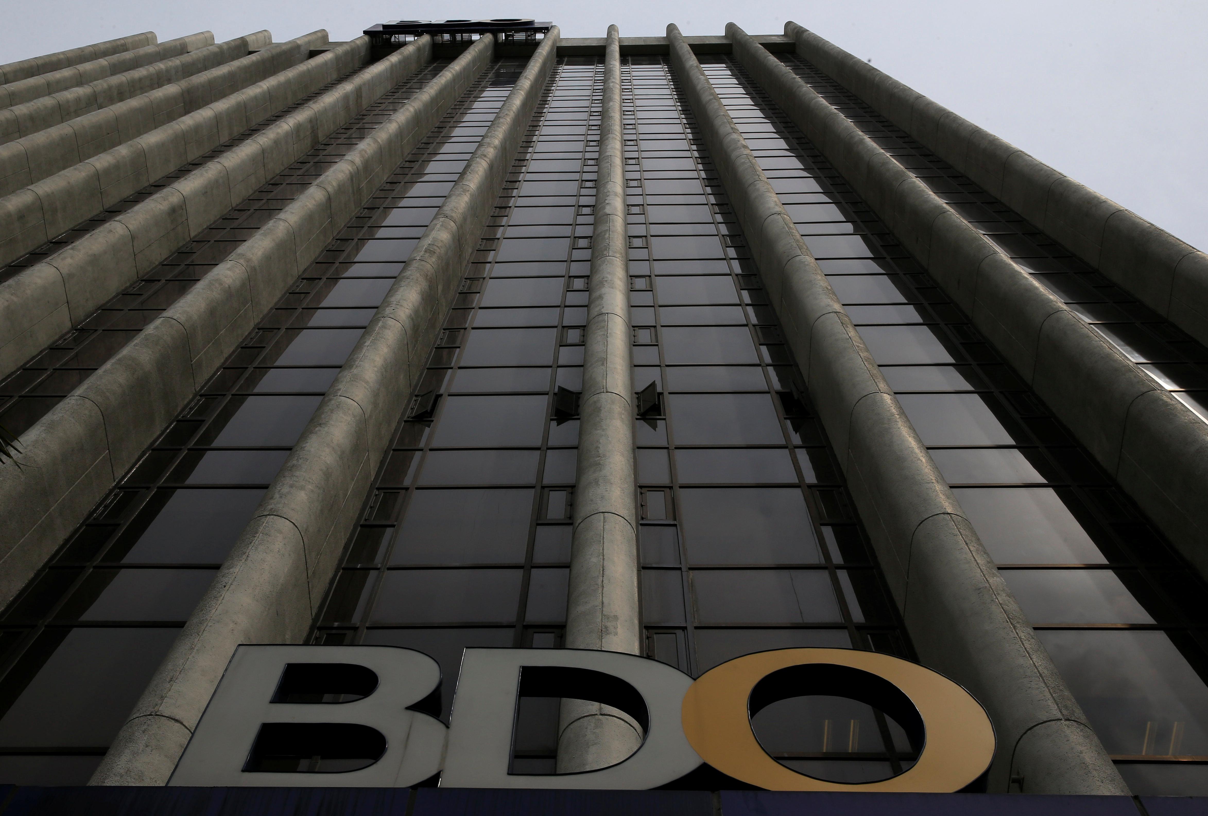 A logo of Philippines' top lender Banco de Oro (BDO) Unibank, Inc. is seen at their main building in Makati city, metro Manila, Philippines. REUTERS/Romeo Ranoco