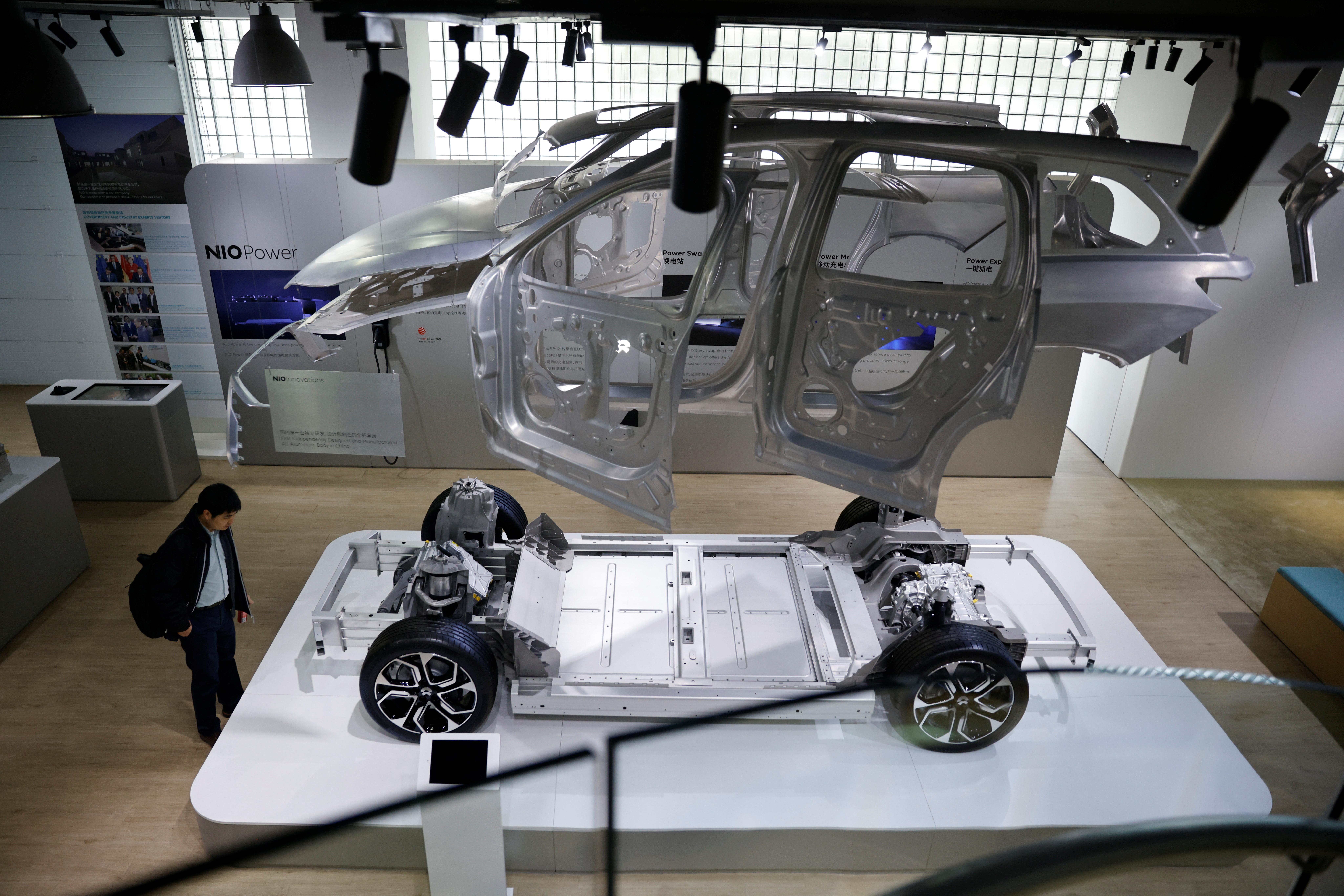 A model of a Nio electric car is displayed at a Nio office in Shanghai, China, March 24, 2021.  REUTERS/Aly Song