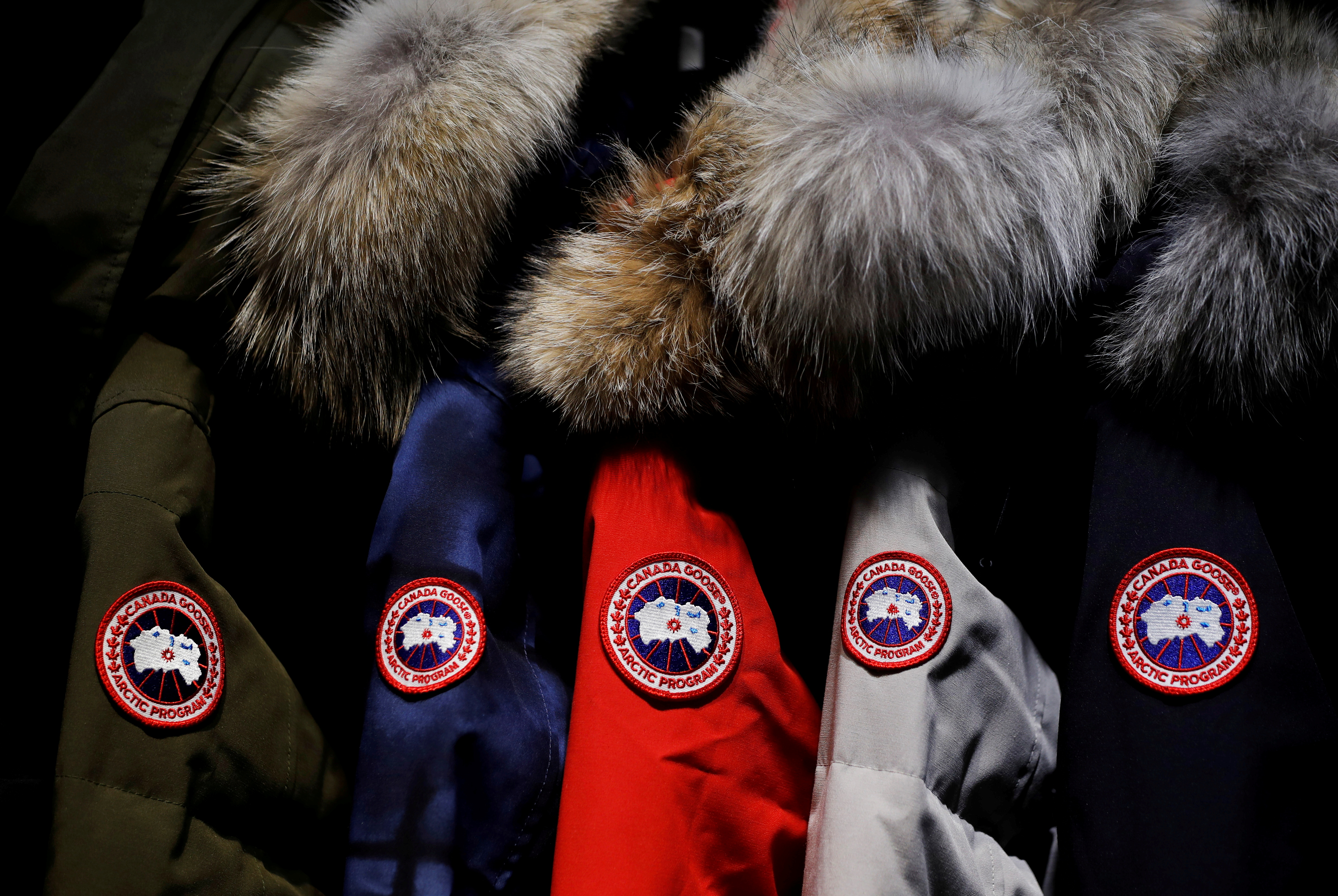 Jackets hang in the showroom of the Canada Goose factory in Toronto, Ontario, Canada, February 23, 2018.   REUTERS/Mark Blinch/File Photo