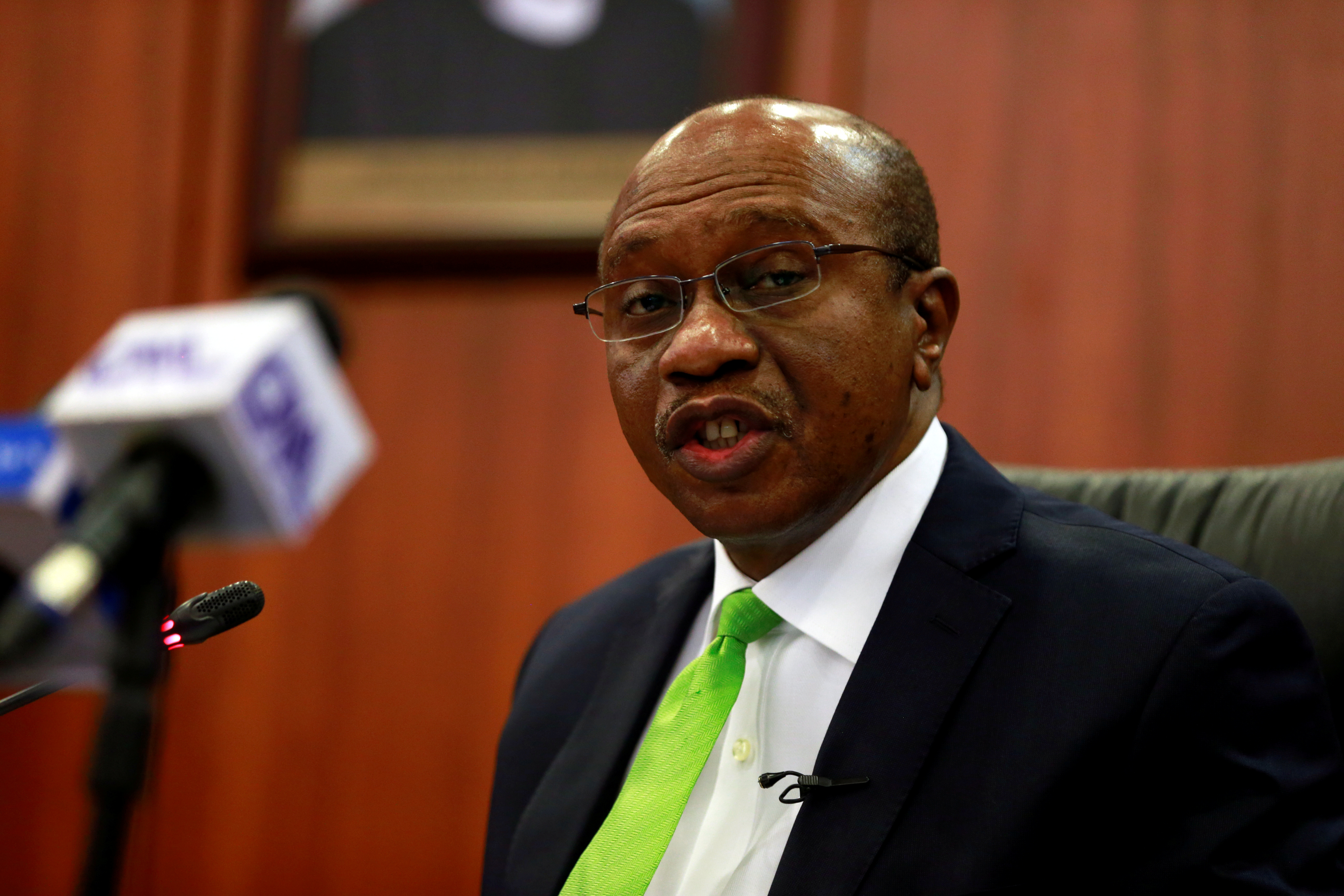 Nigeria's Central Bank Governor Godwin Emefiele briefis the media during the MPC meeting in Abuja, Nigeria January 24, 2020. REUTERS/Afolabi Sotunde/File Photo
