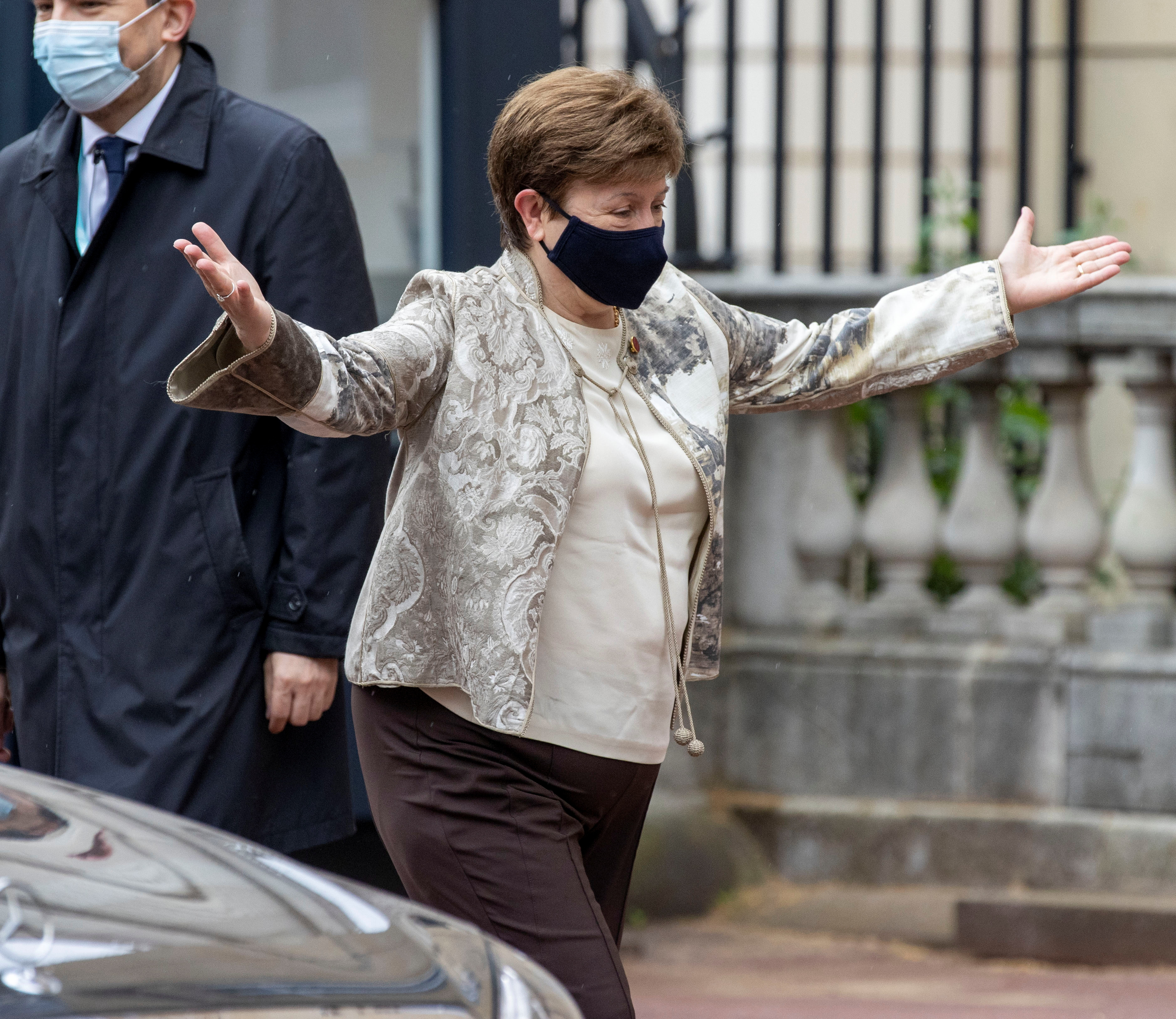 Managing Director of the International Monetary Fund Kristalina Georgieva reacts as she arrives to the G7 finance ministers meeting, at Lancaster House in London, Britain June 4, 2021. Steve Reigate/Pool via REUTERS