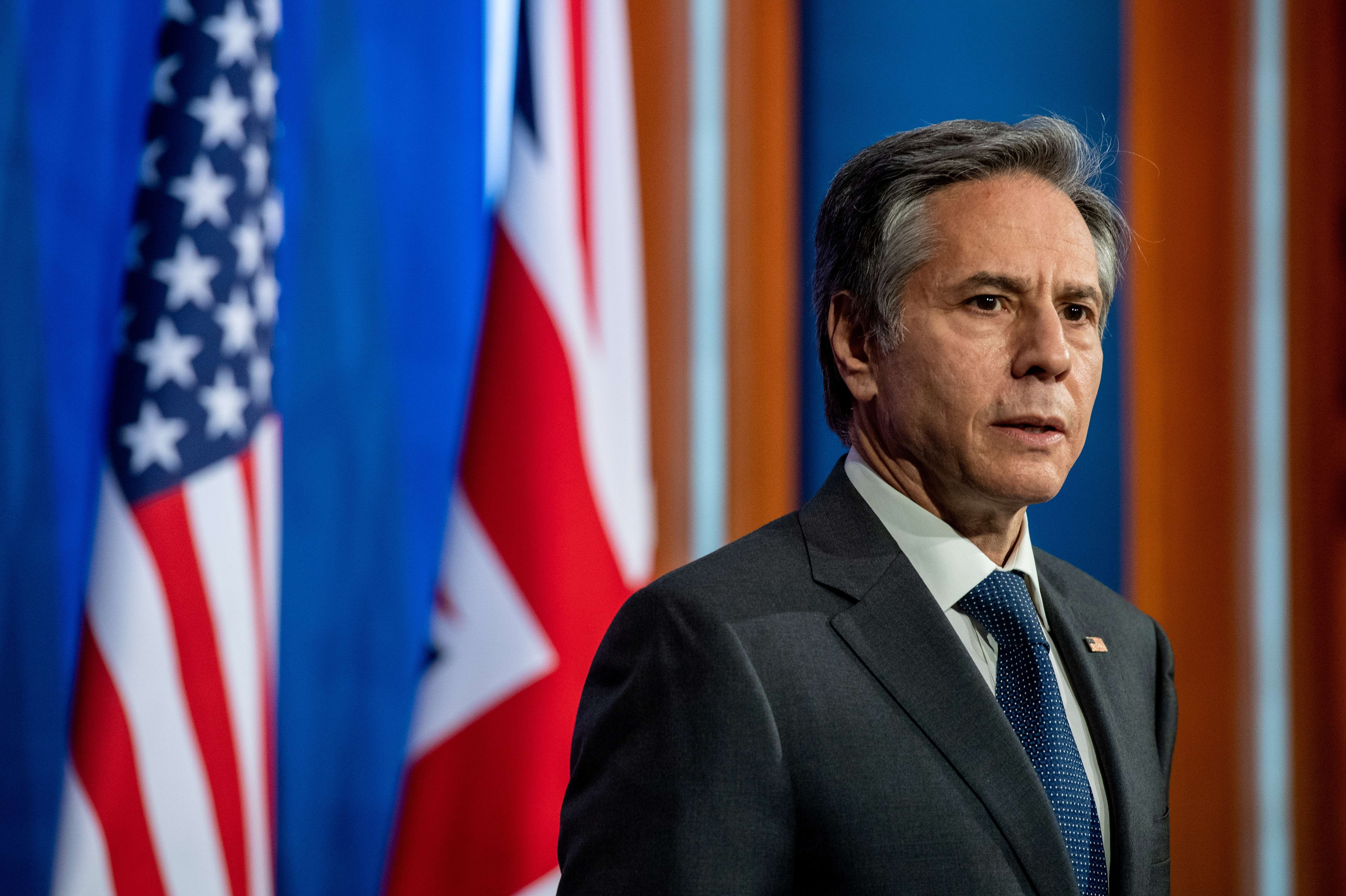 U.S. Secretary of State Antony Blinken holds a joint news conference with his British counterpart at Downing Street following their bilateral meeting in London, Britain May 3, 2021 during the G7 foreign ministers meeting. Chris J Ratcliffe/Pool via REUTERS/File Photo