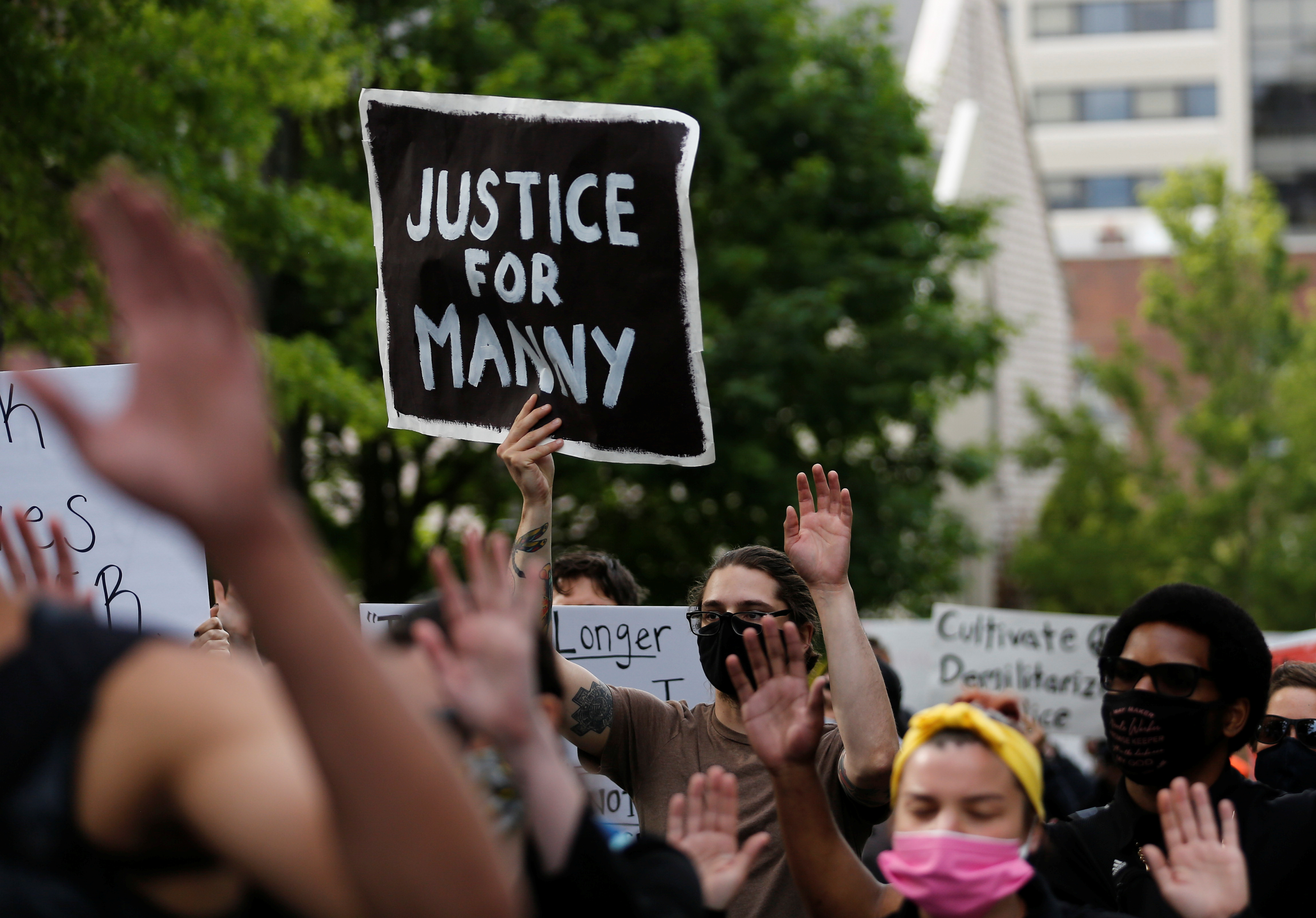 A protester holds a