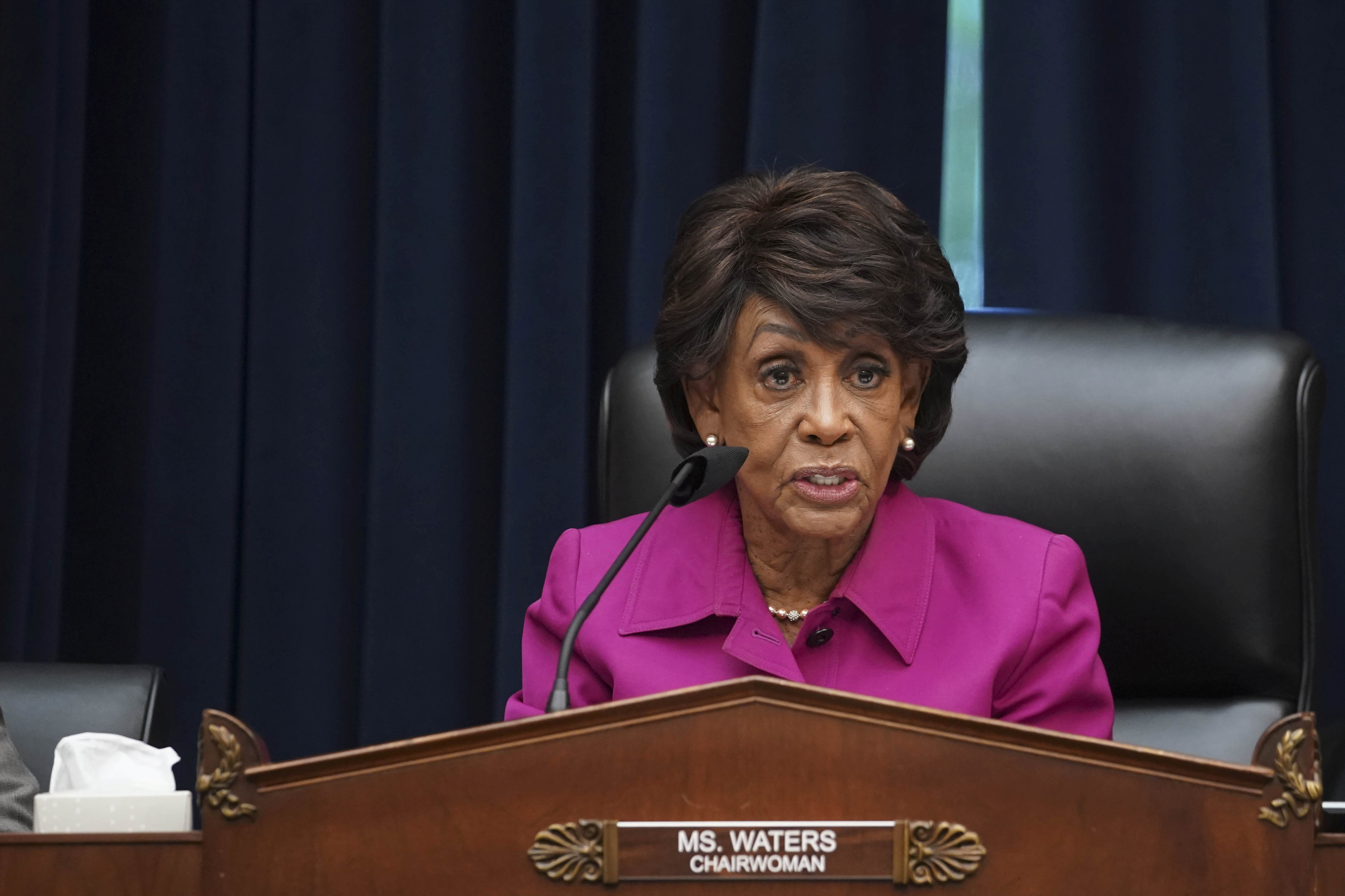 Representative and chairwoman Maxine Waters (D-CA) attends the House Financial Services Committee hearing on Capitol Hill in Washington, U.S., September 30, 2021.  Al Drago/Pool via REUTERS/Files