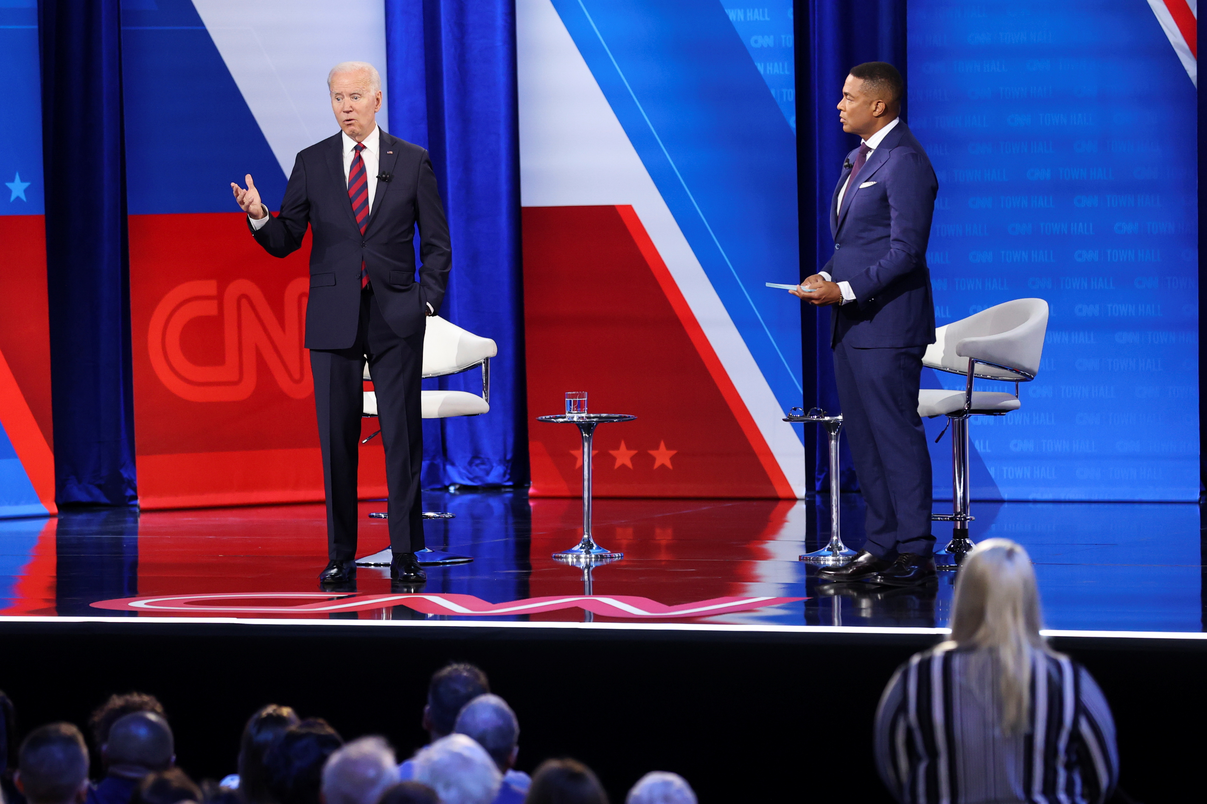 U.S. President Joe Biden participates in a town hall-style interview at Mount St. Joseph University in Cincinnati, Ohio, U.S. July 21, 2021. REUTERS/Jonathan Ernst