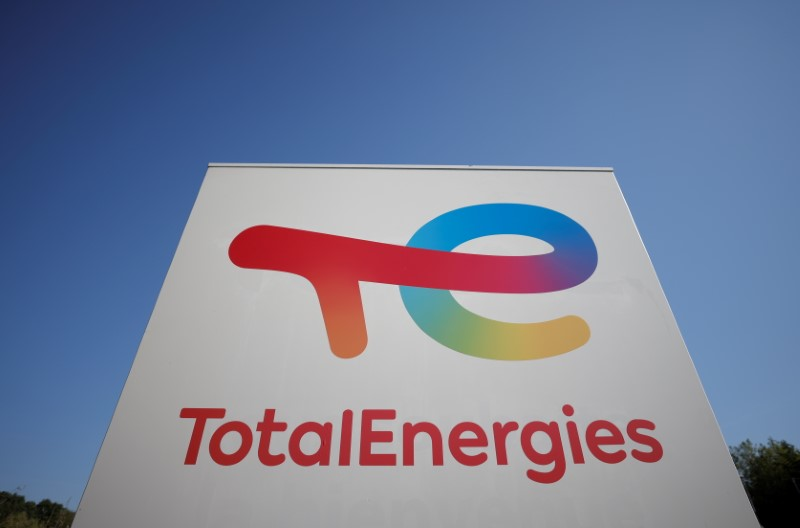 The logo of French oil and gas company TotalEnergies is pictured at a petrol station in Treillieres, near Nantes, France, June 8, 2021. REUTERS/Stephane Mahe
