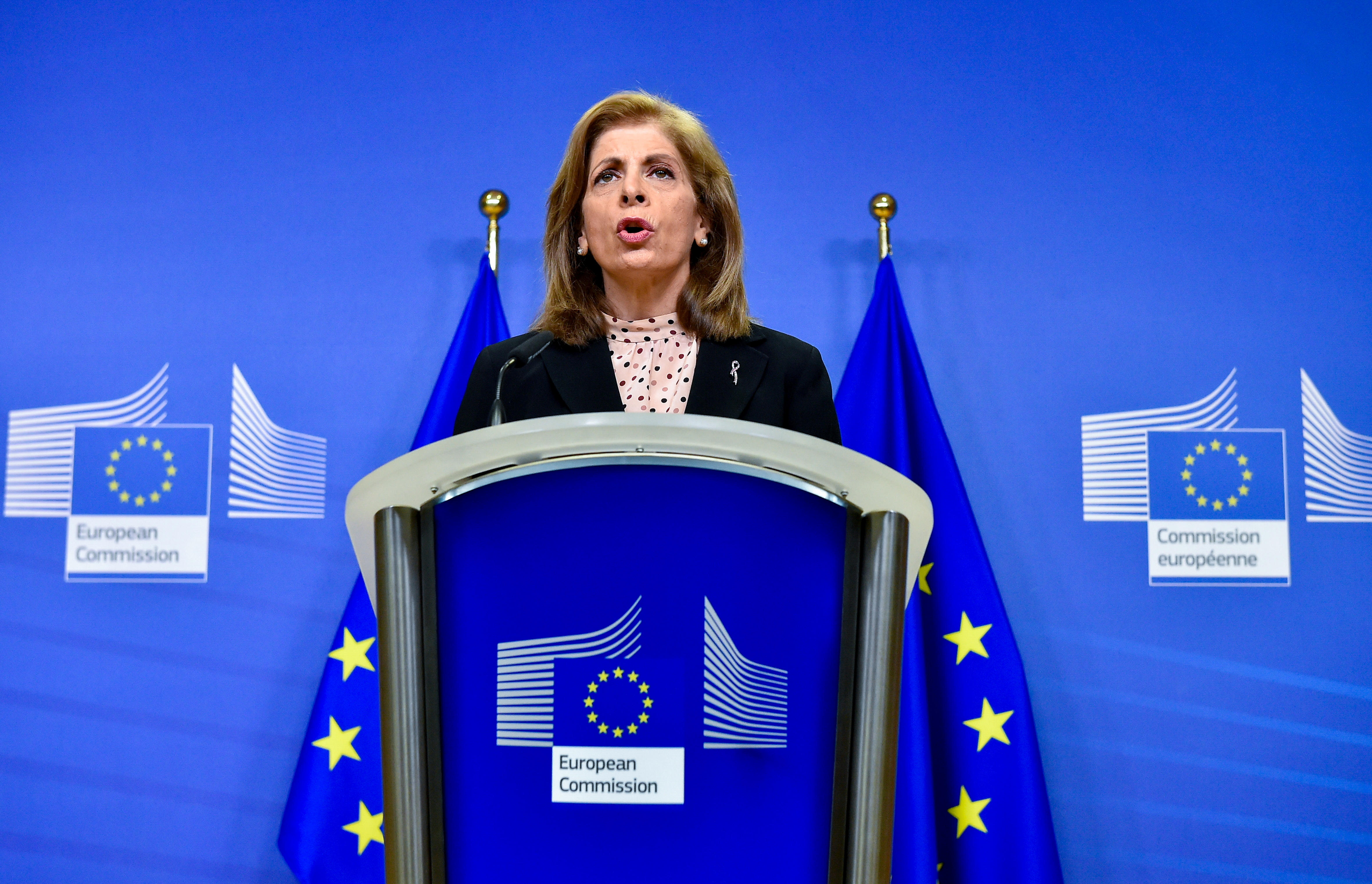 European Union commissioner for Health, Stella Kyriakides, gives a news statement on vaccine deliveries at the EU headquarters, in Brussels, Belgium January 25, 2021. John Thys/Pool via REUTERS