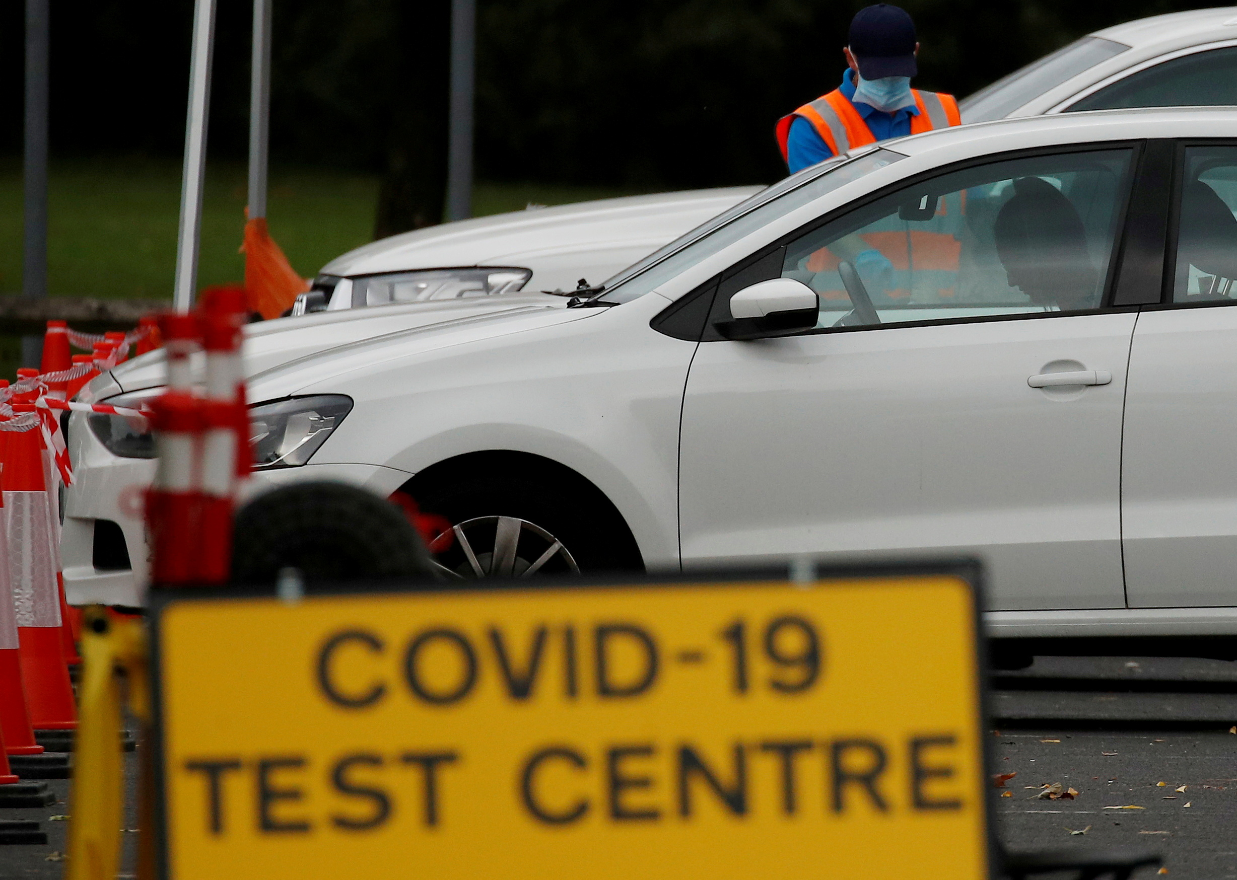 A drive-through testing centre in Bolton, Britain, September 22, 2020. REUTERS/Phil Noble
