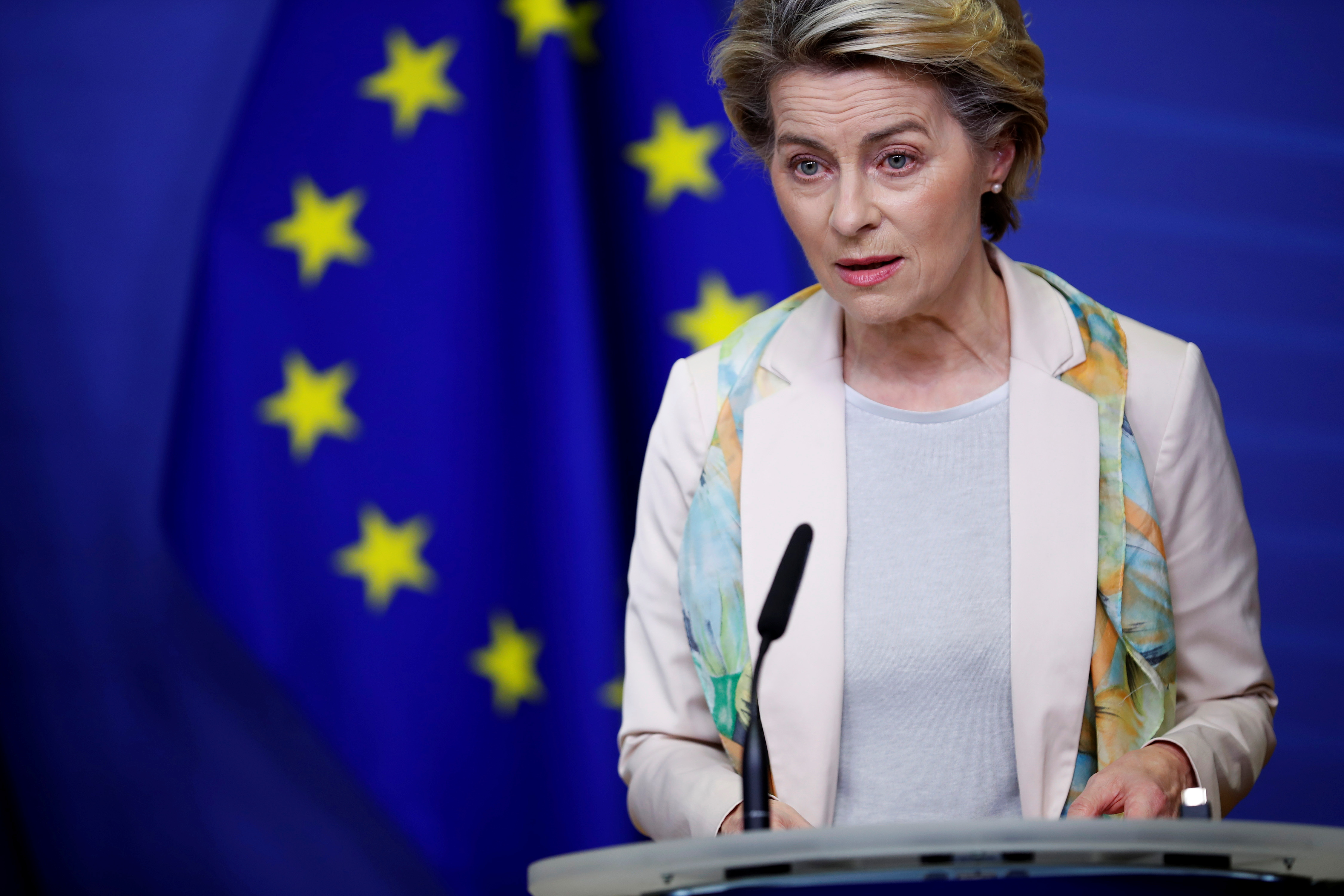 European Commission President Ursula von der Leyen gives a joint statement with NATO Secretary General Jens Stoltenberg before they attend a College of Commissioners meeting at the European Commission headquarters in Brussels, Belgium, December 15, 2020. Francisco Seco/Pool via REUTERS