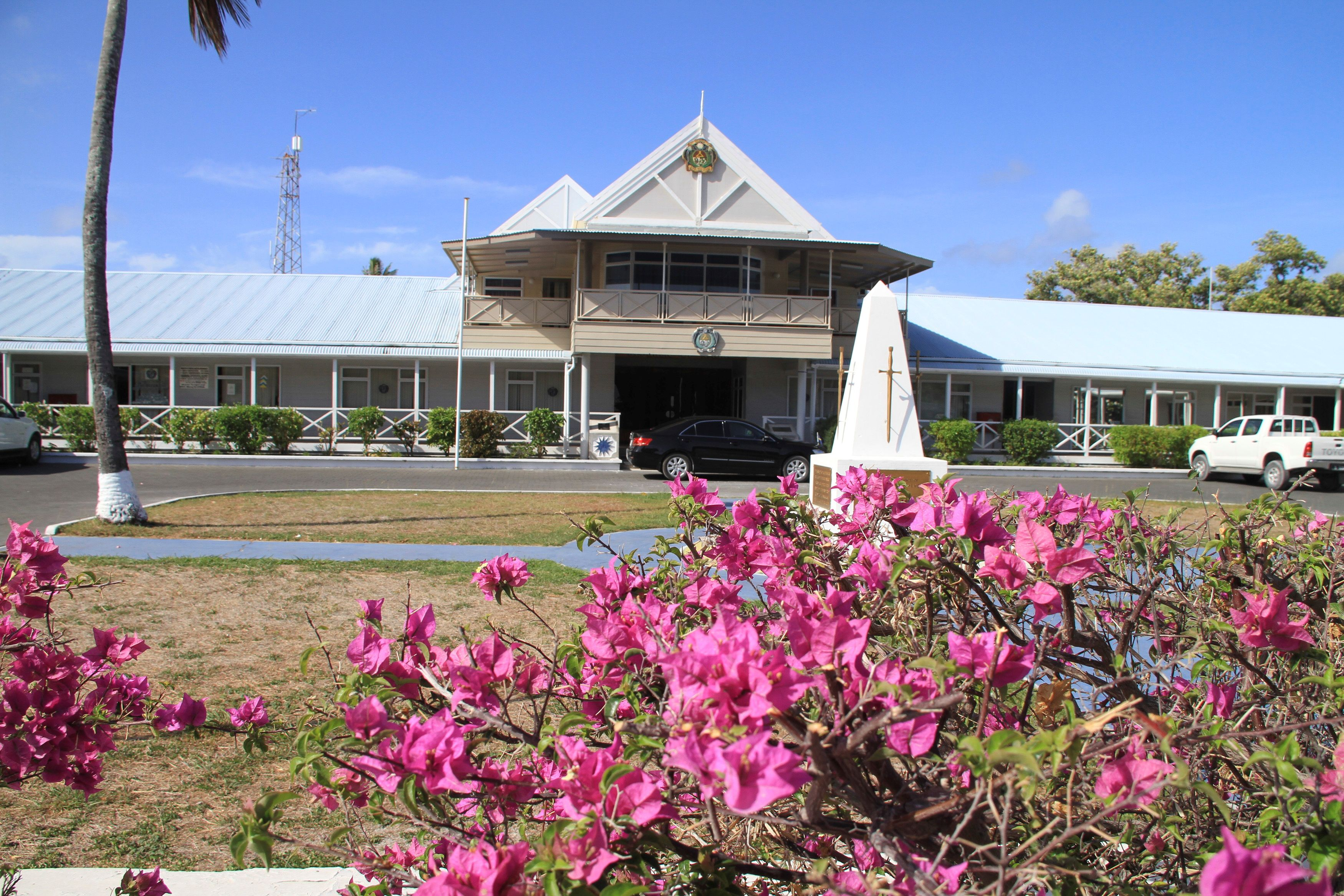 FILE PHOTO: An exterior view of the government offices of the small island nation of Nauru is pictured, February 10, 2012.   REUTERS/Rod Henshaw/File Photo - RC2U6O9T1FKI