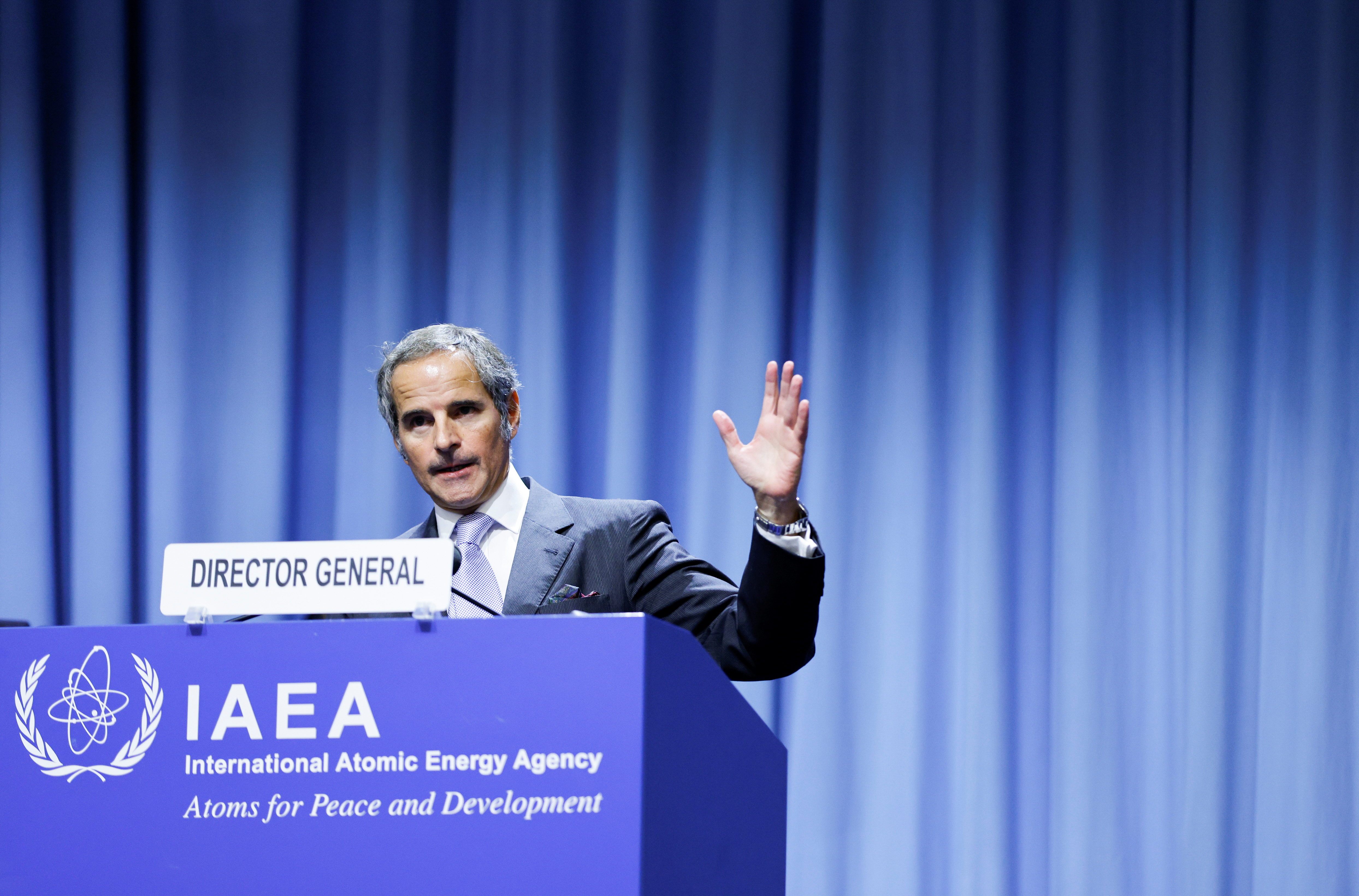 International Atomic Energy Agency (IAEA) Director General Rafael Grossi delivers his speech at the opening of the IAEA General Conference at their headquarters in Vienna, Austria, September 20, 2021. REUTERS/Leonhard Foeger