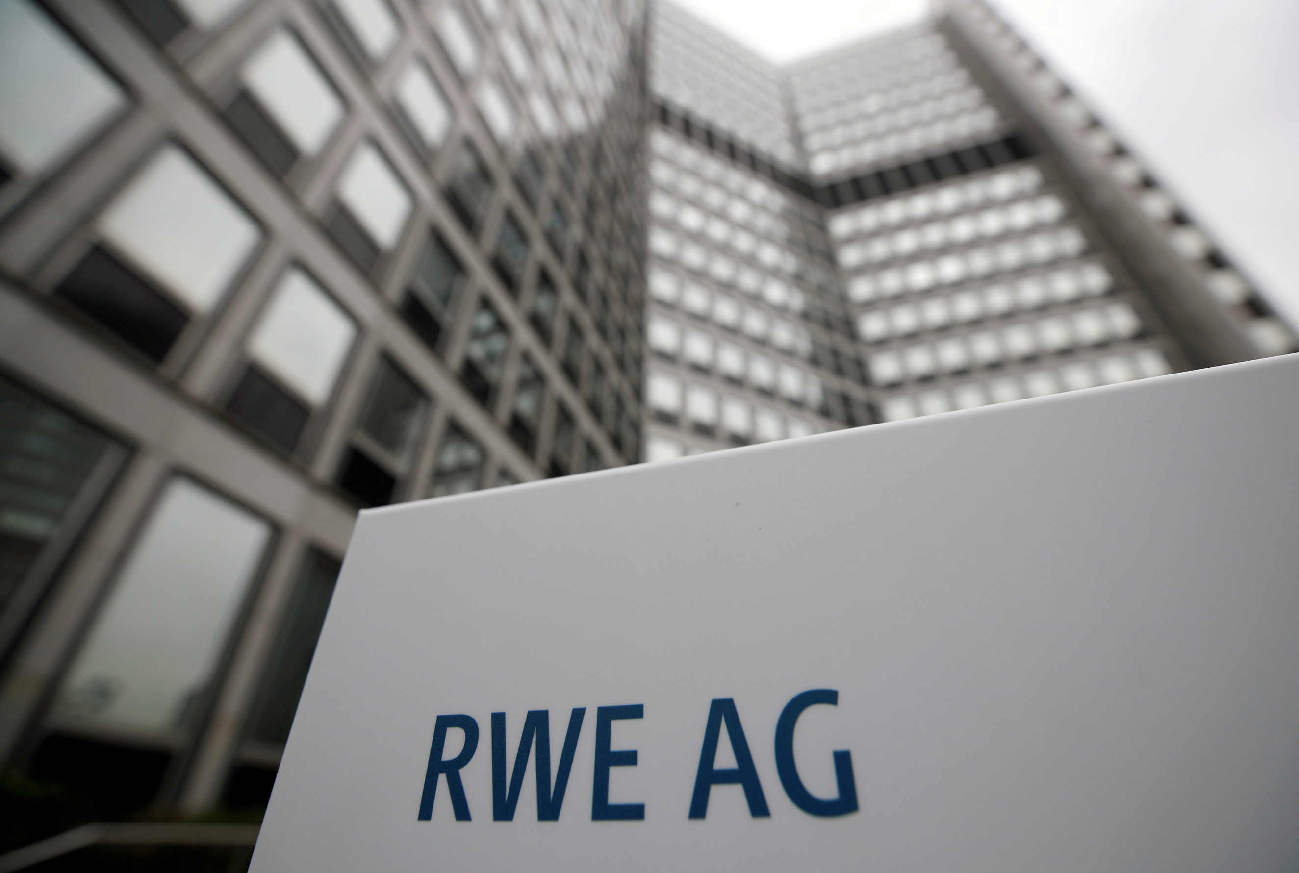The headquarters of the German power supplier RWE, which plans to break up subsidiary Innogy and share its assets with rival E.ON, is pictured in Essen, Germany, April 24, 2018. REUTERS/Wolfgang Rattay