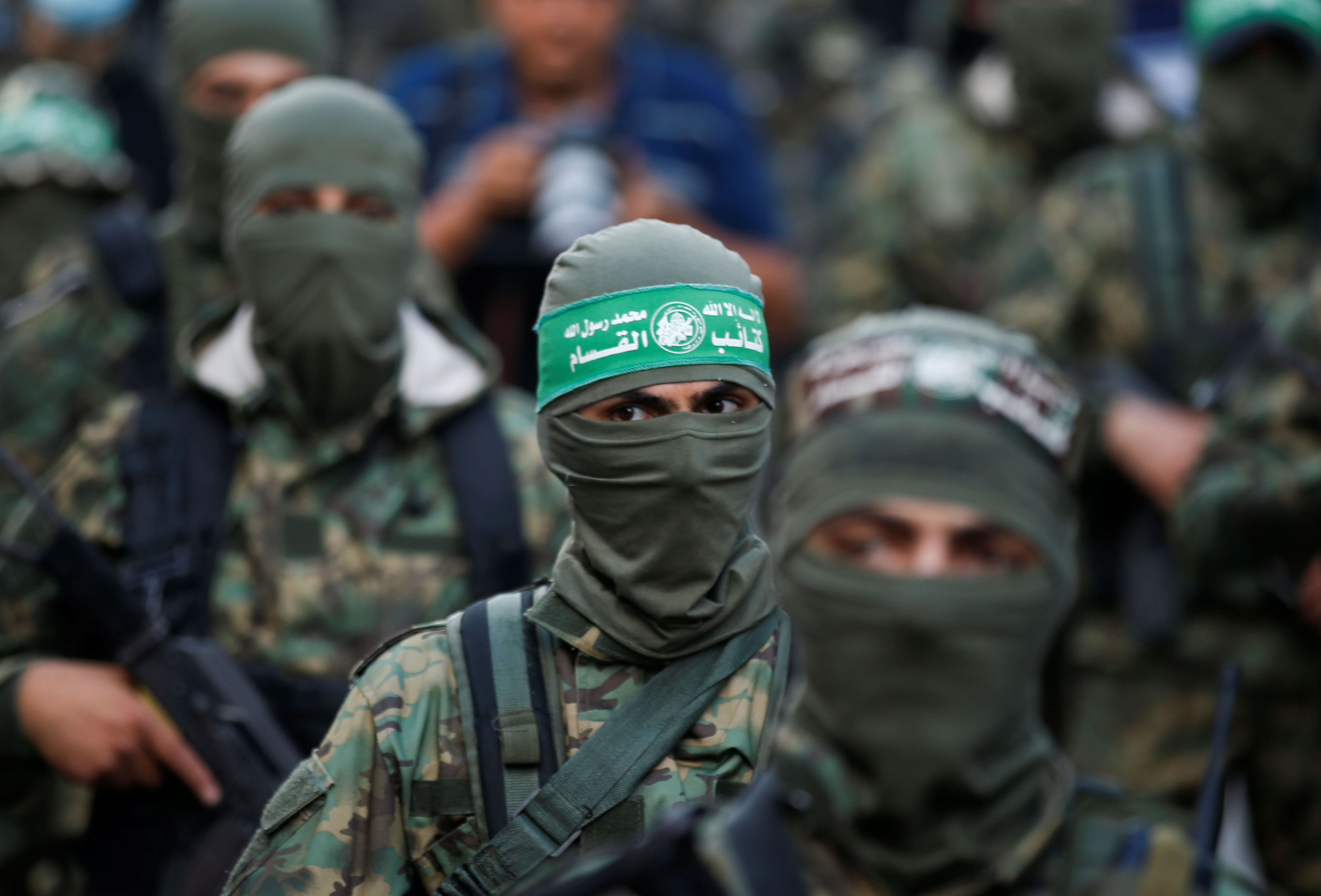Palestinian Hamas militants take part in an anti-Israel rally in Gaza City May 22, 2021. REUTERS/Mohammed Salem