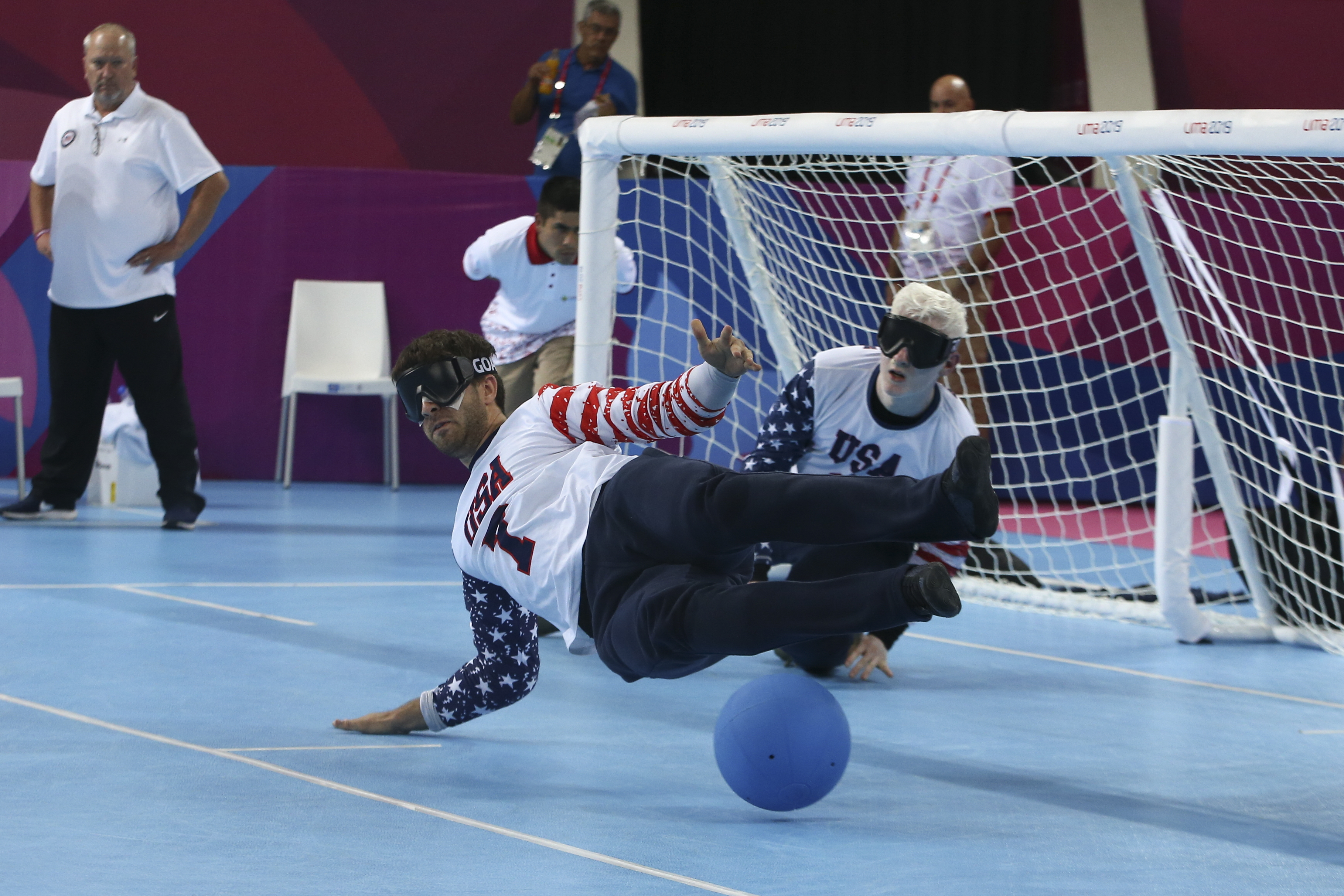 Matthew Simpson (foreground) against Brazil at the 2019 Parapan American Games. Courtesy 2019 Parapan American Games in Lima, Peru.