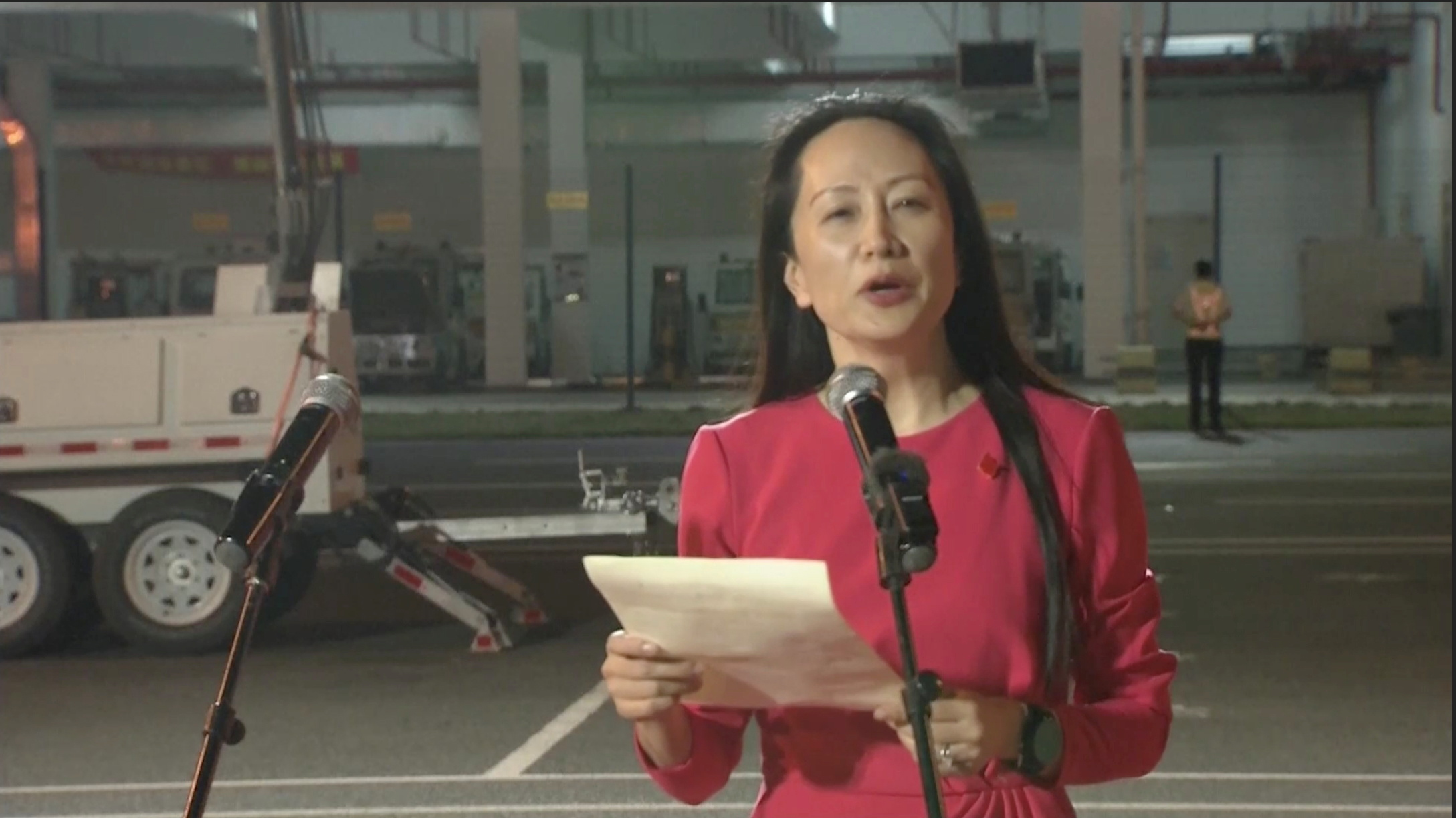 Huawei Technologies Chief Financial Officer Meng Wanzhou speaks upon arriving from Canada at Shenzhen Baoan International Airport, in Shenzhen, Guangdong province, China September 25, 2021. CCTV via REUTERS TV  ATTENTION EDITORS - THIS IMAGE WAS PROVIDED BY A THIRD PARTY. NO RESALES. NO ARCHIVES. CHINA OUT.