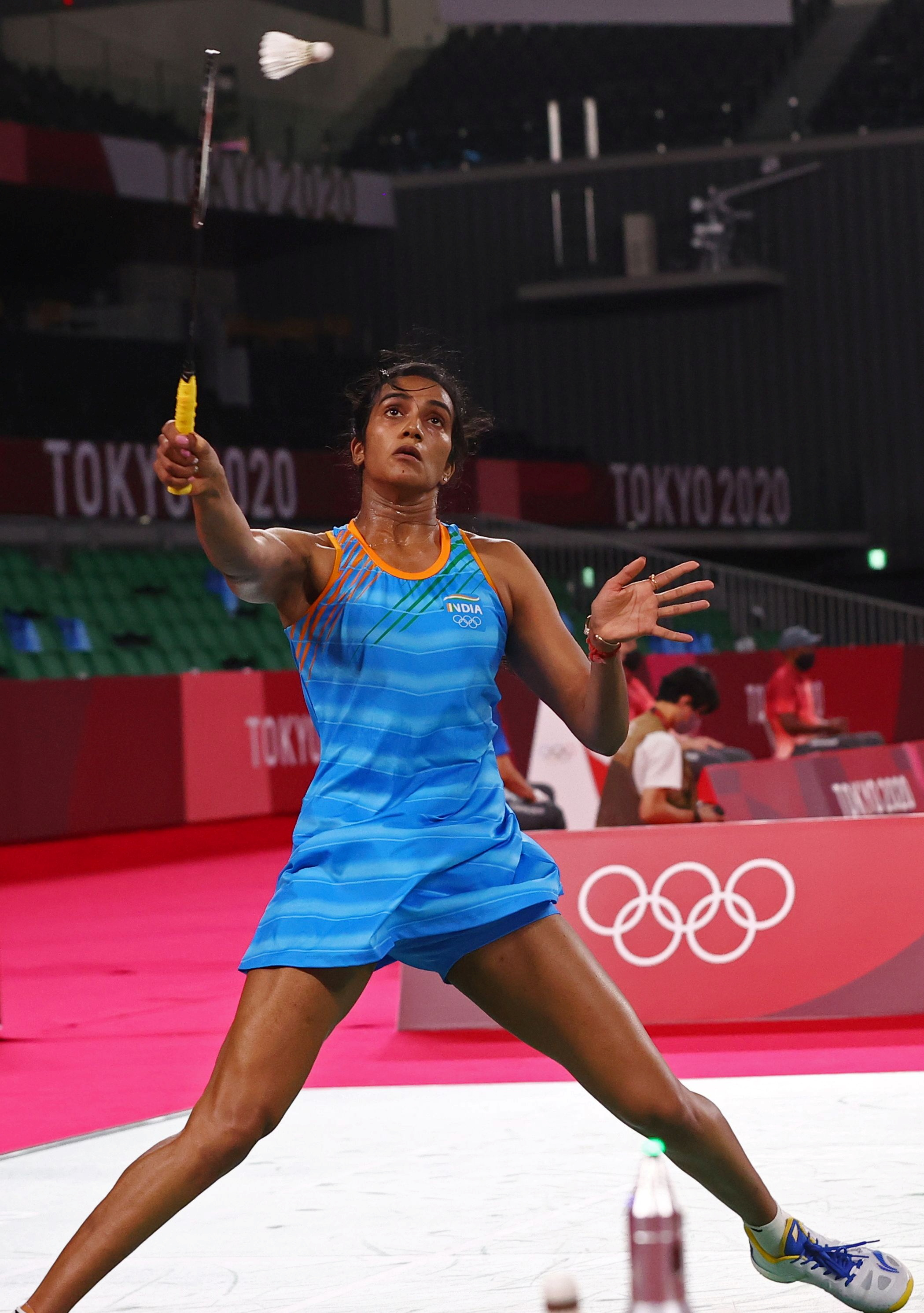 Tokyo 2020 Olympics - Badminton - Women's Singles - Group Stage - MFS - Musashino Forest Sport Plaza, Tokyo, Japan – July 28, 2021. P.V. Sindhu of India in action during the match against Cheung Ngan Yi of Hong Kong. REUTERS/Leonhard Foeger