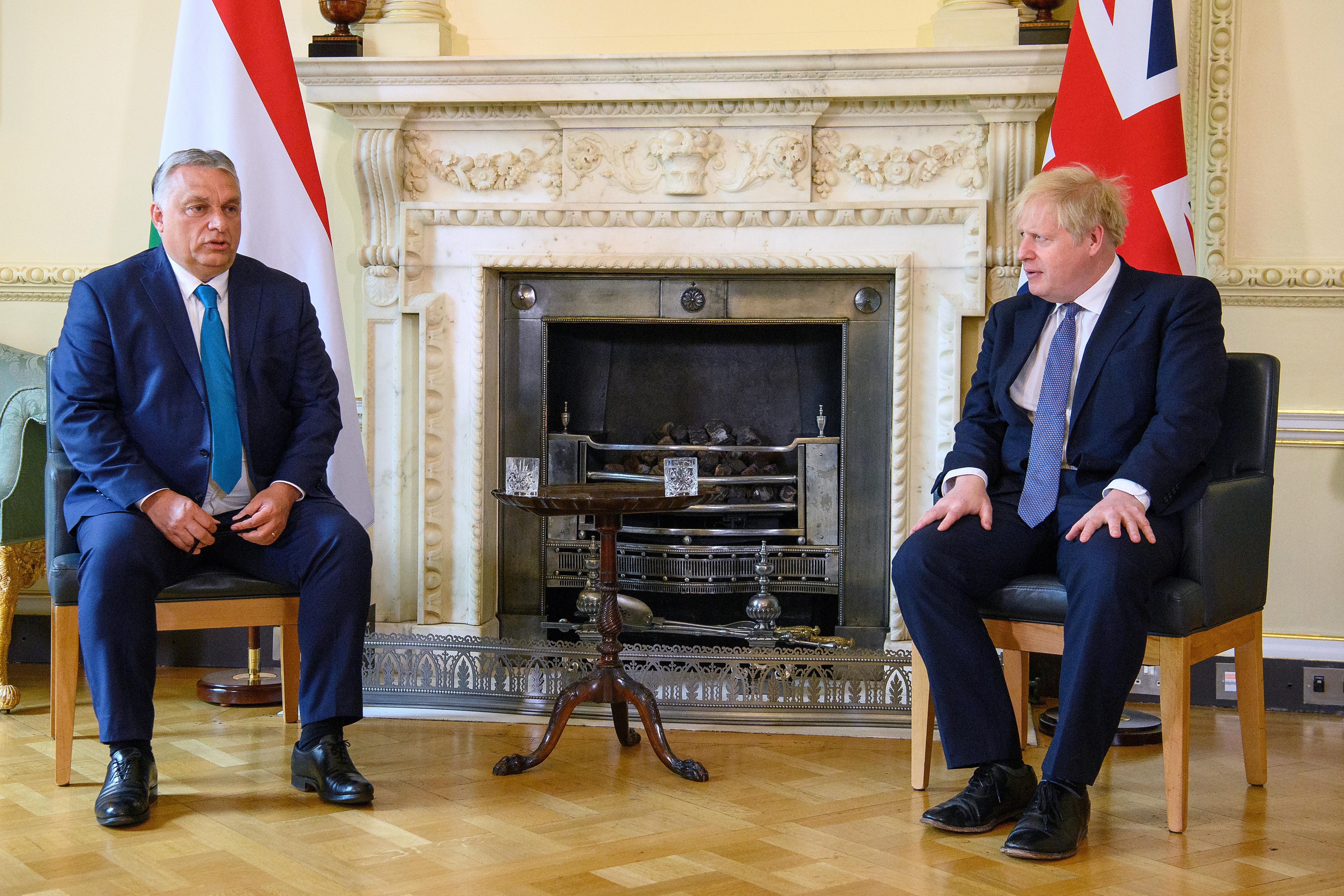 British Prime Minister Boris Johnson talks to Hungarian Prime Minister Viktor Orban at Downing Street in London, Britain May 28, 2021. Leon Neal/Pool via REUTERS