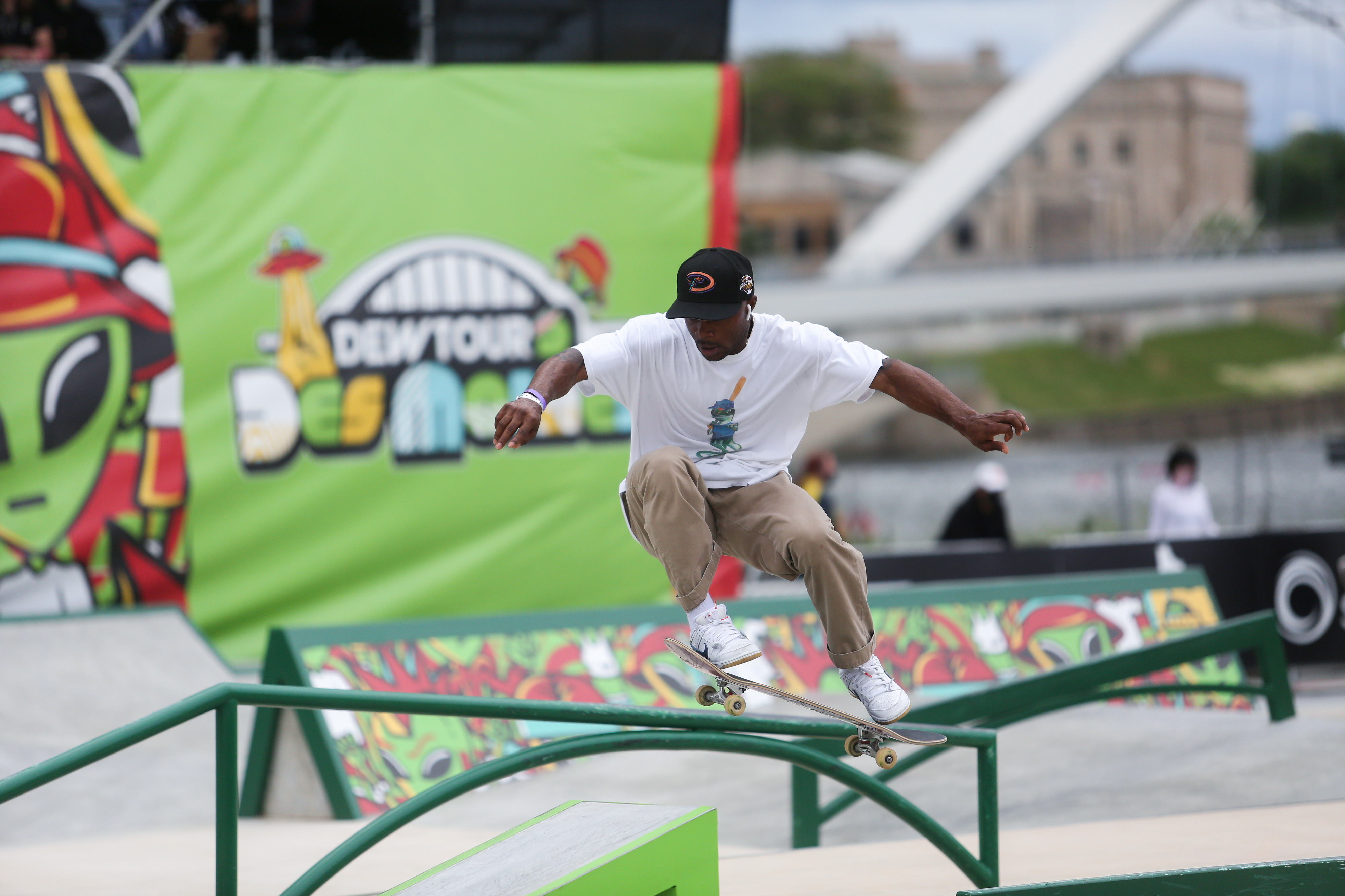 Skateboarder Dashawn Jordan (U.S.) practices during a stop on the Dew Tour, which showcases athletes before skateboarding makes its Olympic debut in Tokyo, at Lauridsen Park in Des Moines, Iowa, U.S., May 20, 2021.  REUTERS/Rachel Mummey