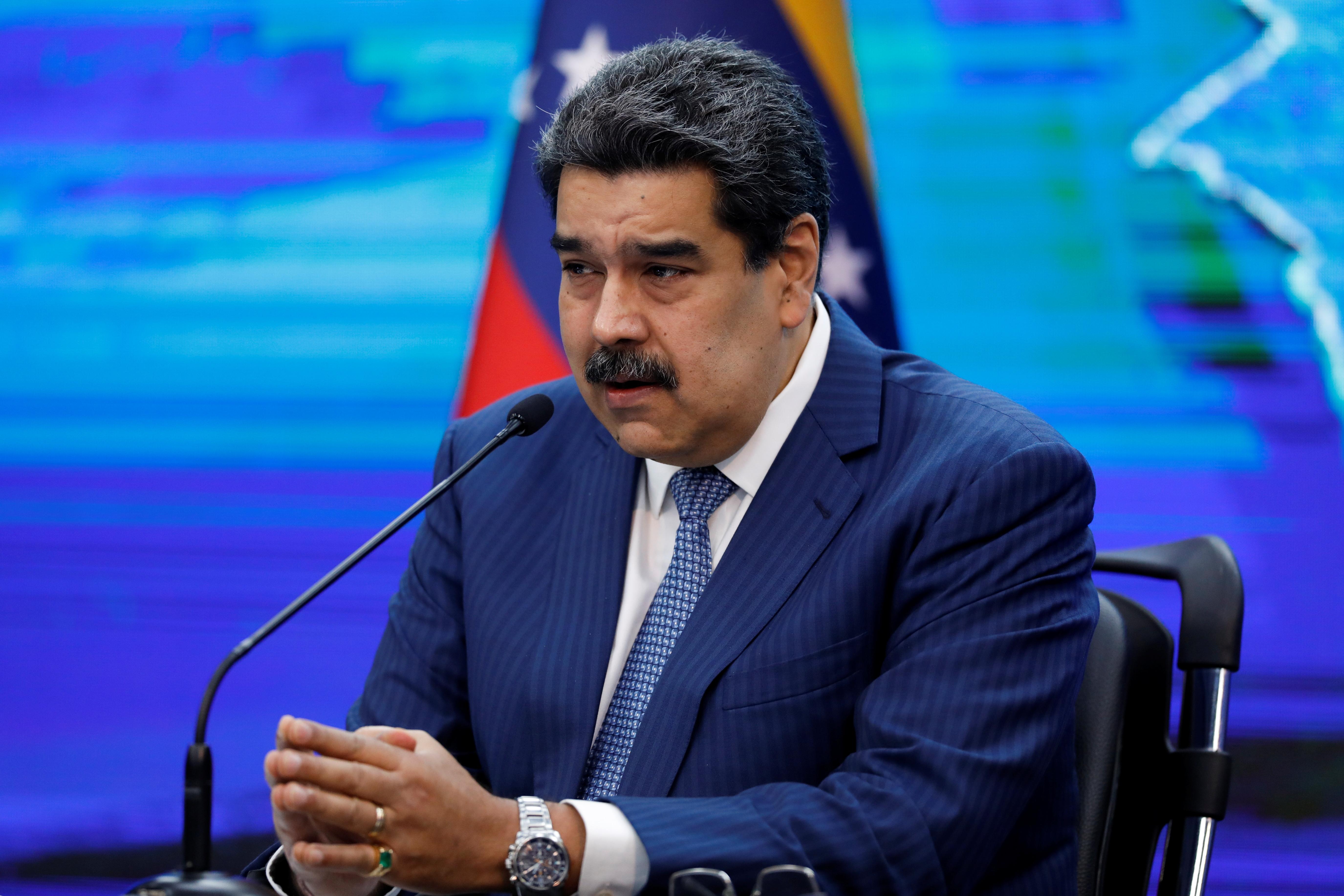 Venezuela's President Nicolas Maduro addresses the media from the Miraflores Palace, in Caracas, Venezuela August 16, 2021. REUTERS/Leonardo Fernandez Viloria