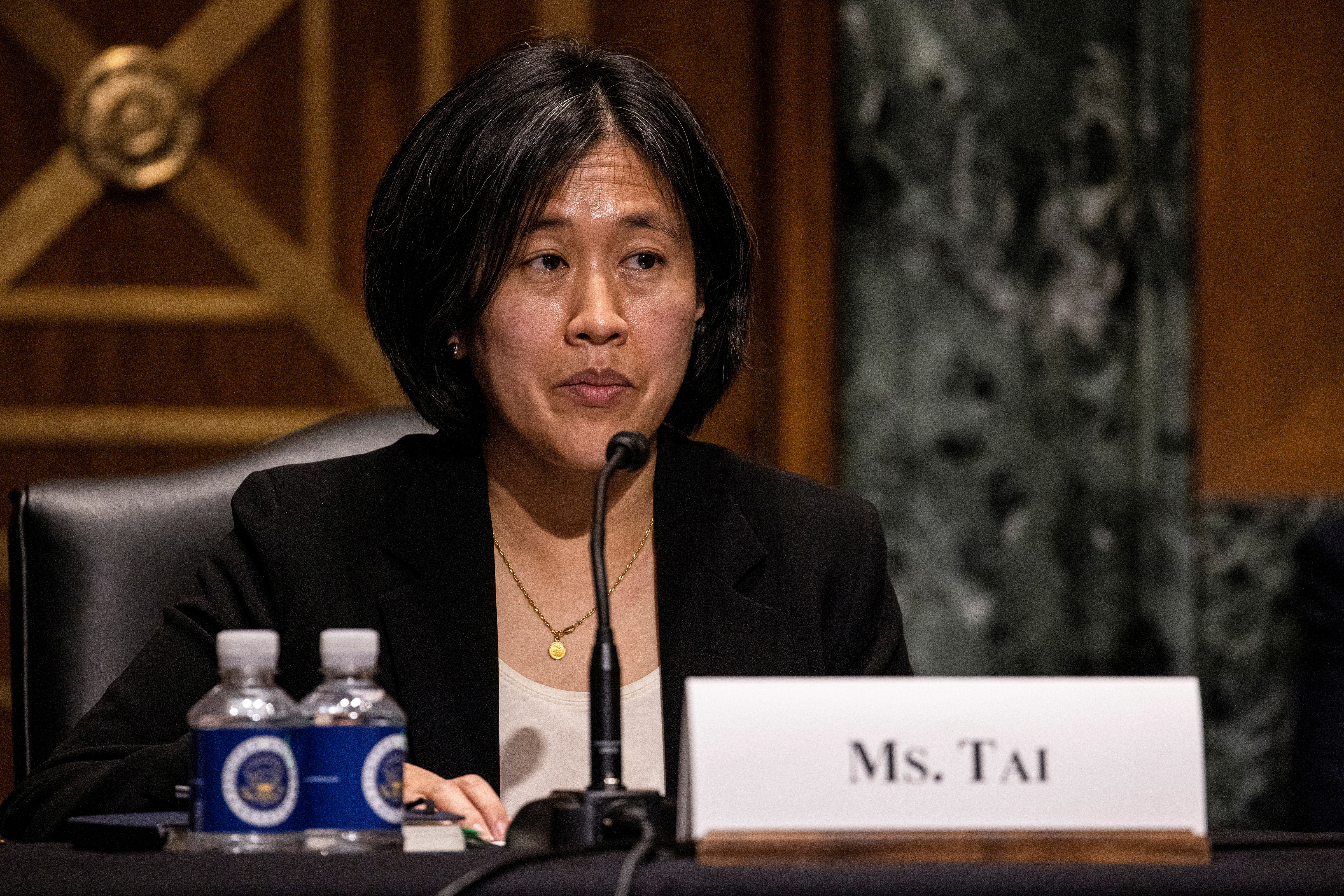 File photo: Katherine Tai, nominee for US Trade Representative, speaks at the Senate Finance Committee hearing at the US Capitol in Washington, DC, U.S. February 25, 2021. REUTERS/Tasos Katopodis