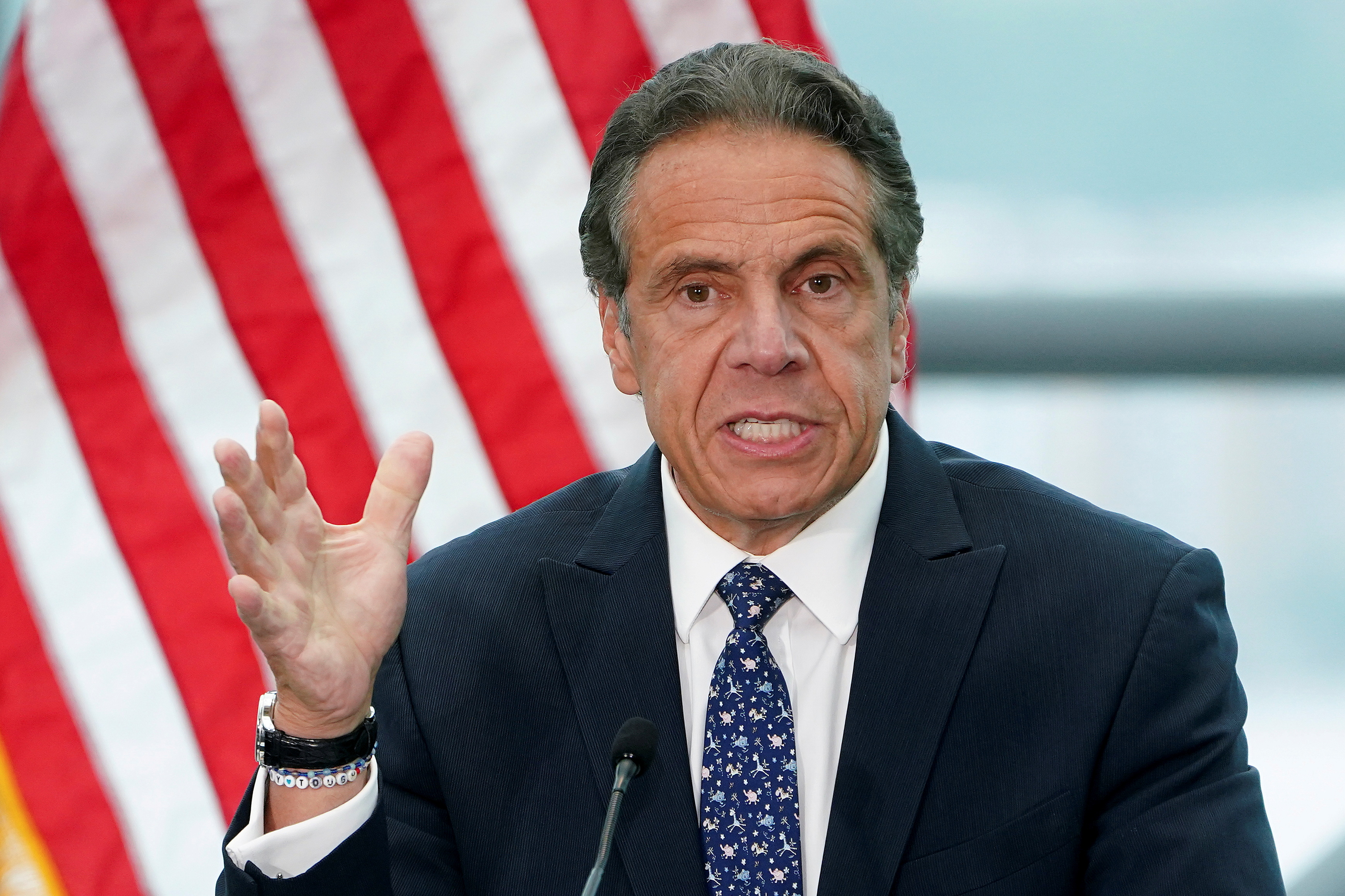 New York Governor Andrew Cuomo gives a press conference in the Manhattan borough of New York City, New York, U.S., June 2, 2021.  REUTERS/Carlo Allegri