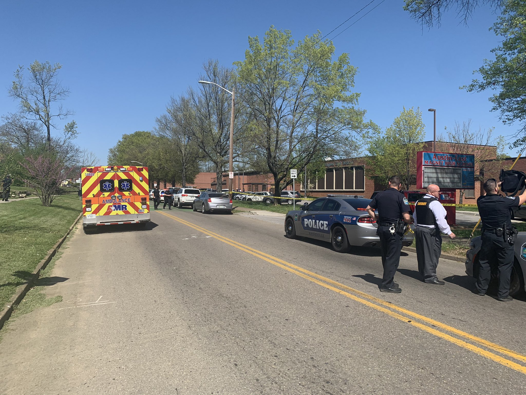 The scene outside Austin-East Magnet High School in Knoxville, Tennessee, April 12, 2021, in this photo posted to Twitter by Knoxville Police. Handout via REUTERS