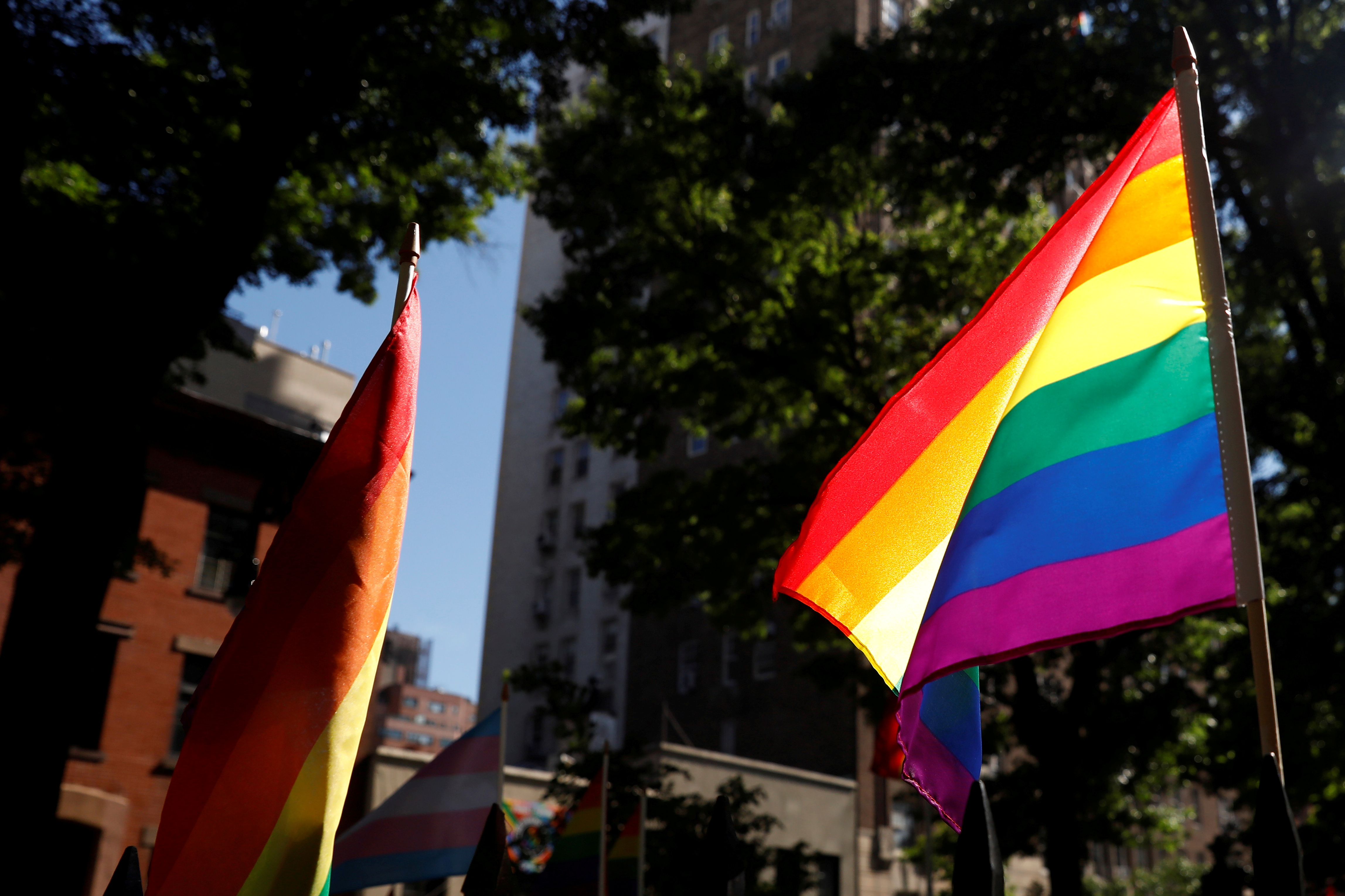 A rainbow flag, commonly known as the gay pride flag or LGBT pride flag, blows in the wind inside Christopher Park outside the Stonewall Inn in New York, U.S., June 27, 2019.  REUTERS/Shannon Stapleton/File Photo