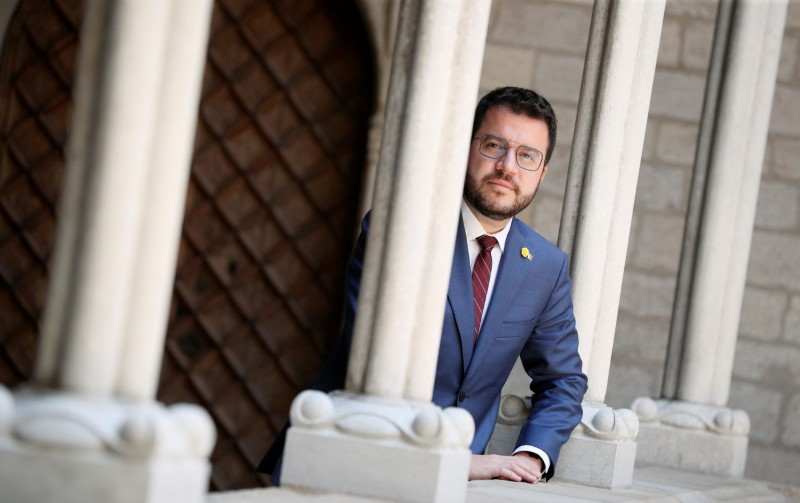 Catalonia's regional head of government Pere Aragones poses during an interview at Palau de la Generalitat in Barcelona, Spain, June 14, 2021. REUTERS/ Albert Gea