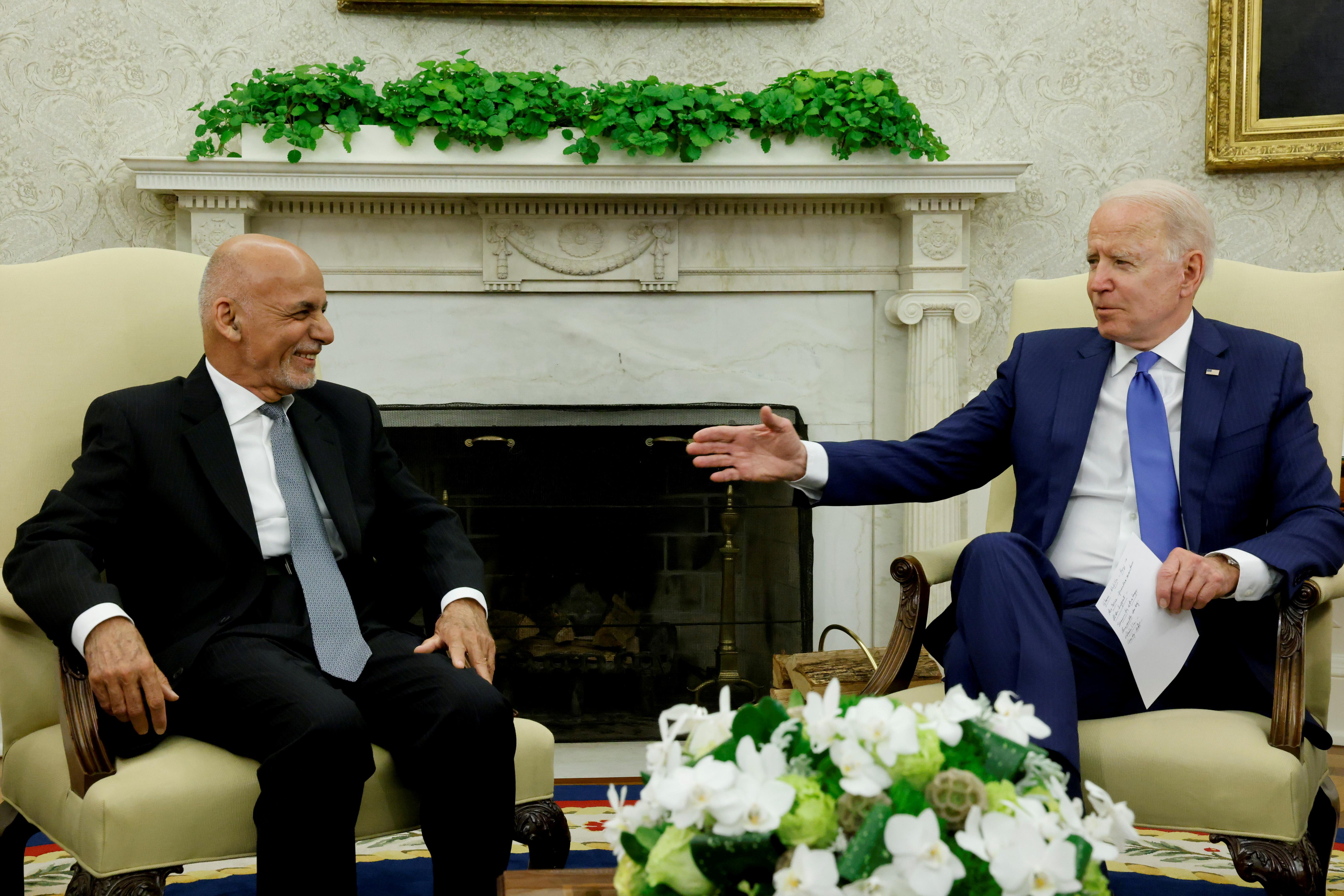 U.S. President Joe Biden meets with Afghan President Ashraf Ghani at the White House, in Washington, U.S., June 25, 2021. REUTERS/Jonathan Ernst/File Photo