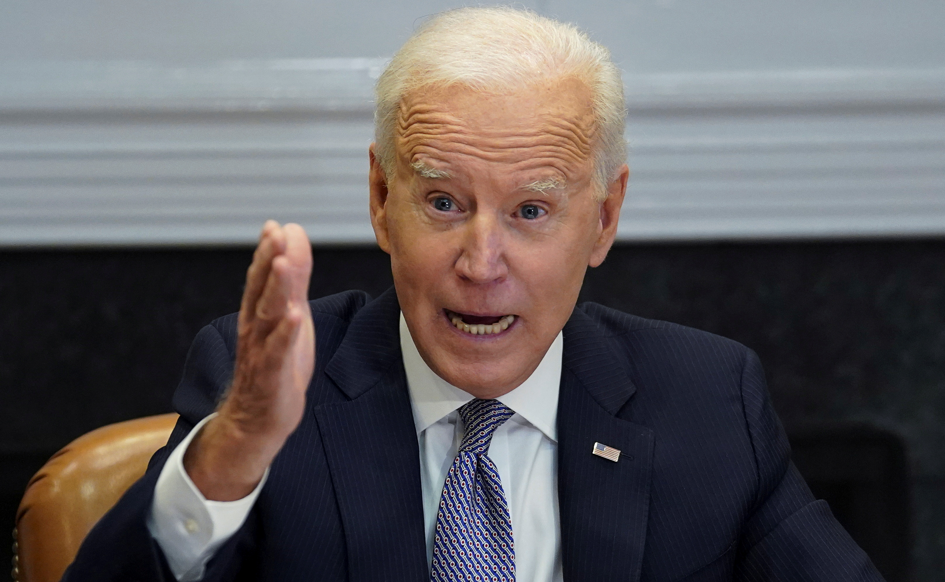 U.S. President Joe Biden speaks as he participates in the virtual CEO Summit on Semiconductor and Supply Chain Resilience from the Roosevelt Room at the White House in Washington, U.S., April 12, 2021. REUTERS/Kevin Lamarque/File Photo