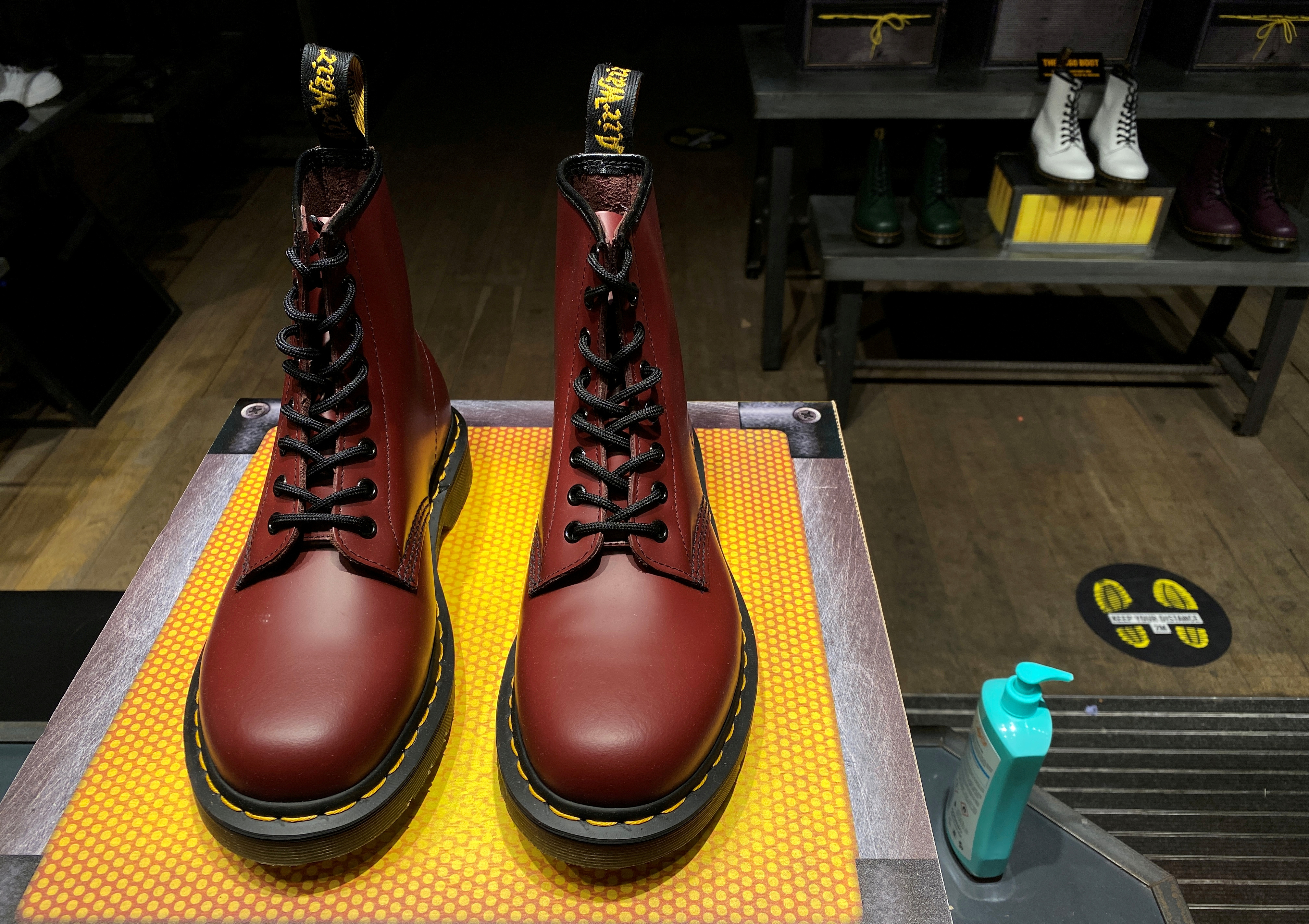 A pair of Dr. Martens boots in London, Britain, September 17, 2020. REUTERS/Simon Newman/File Photo