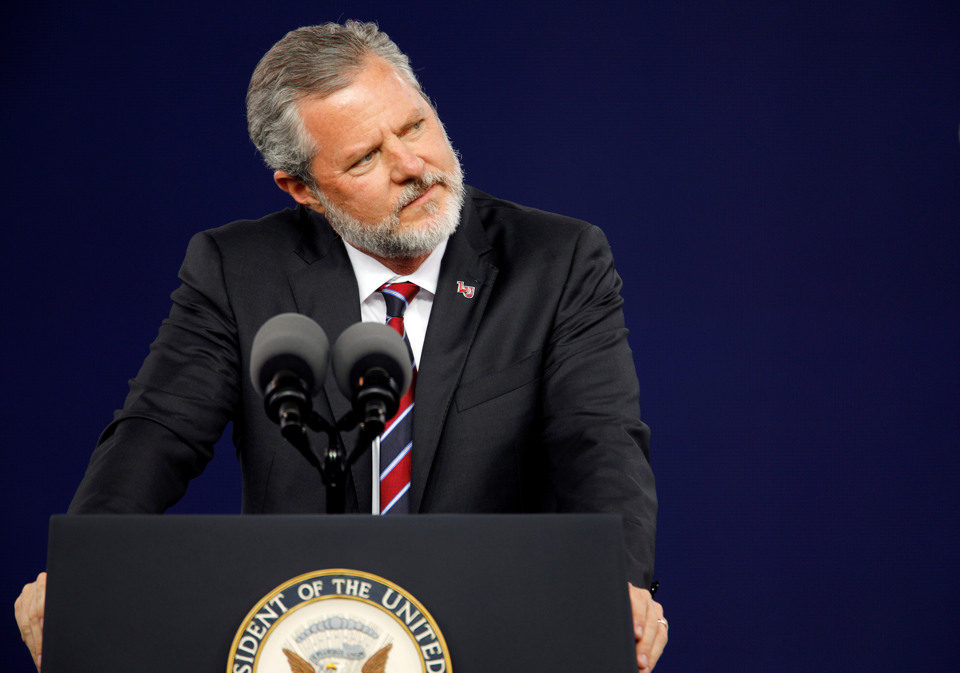 Liberty University President Jerry Falwell Jr. pauses during the school's commencement ceremonies in Lynchburg, Virginia, U.S., May 11, 2019.  REUTERS/Jonathan Drake